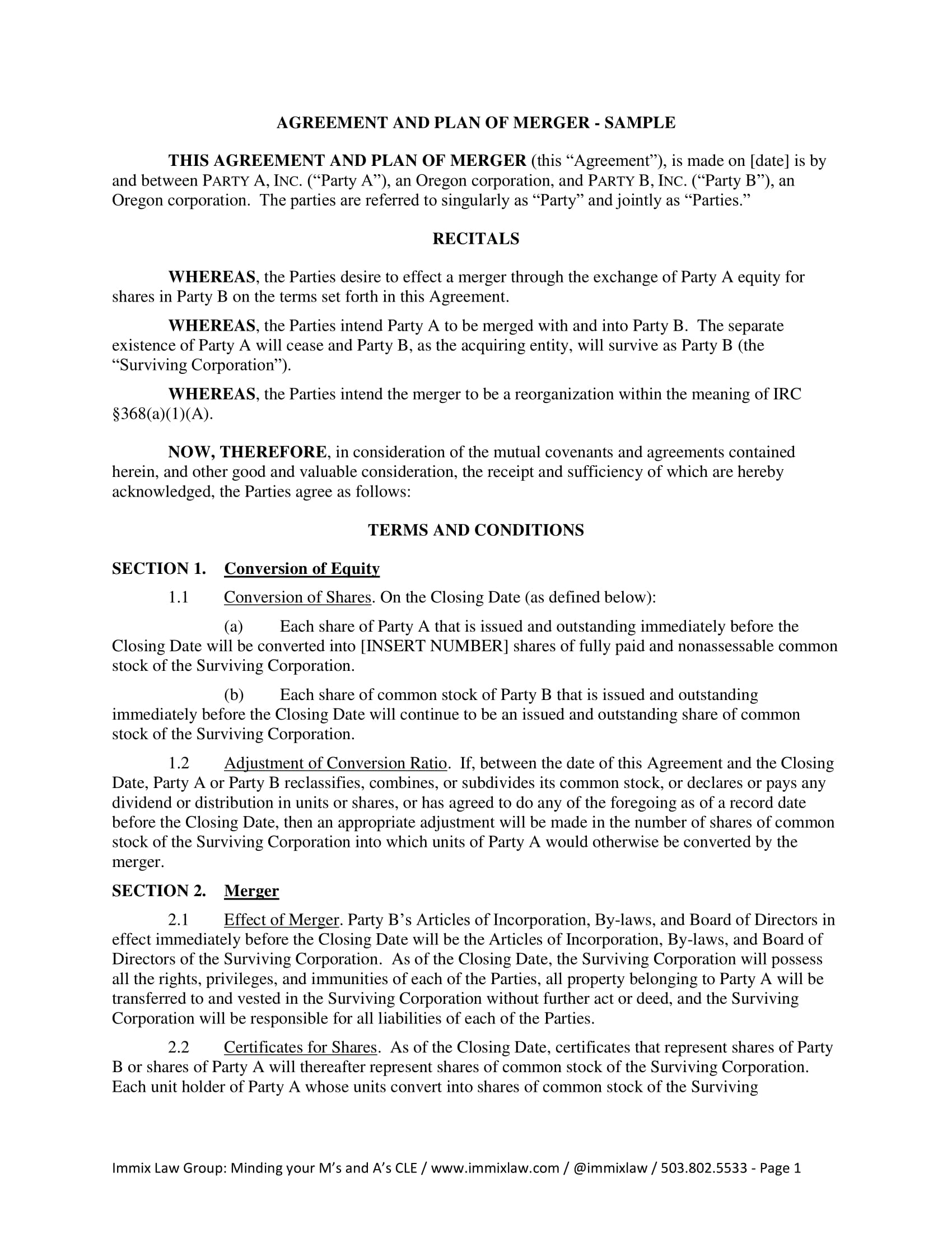 plan of merger agreement contract form 1