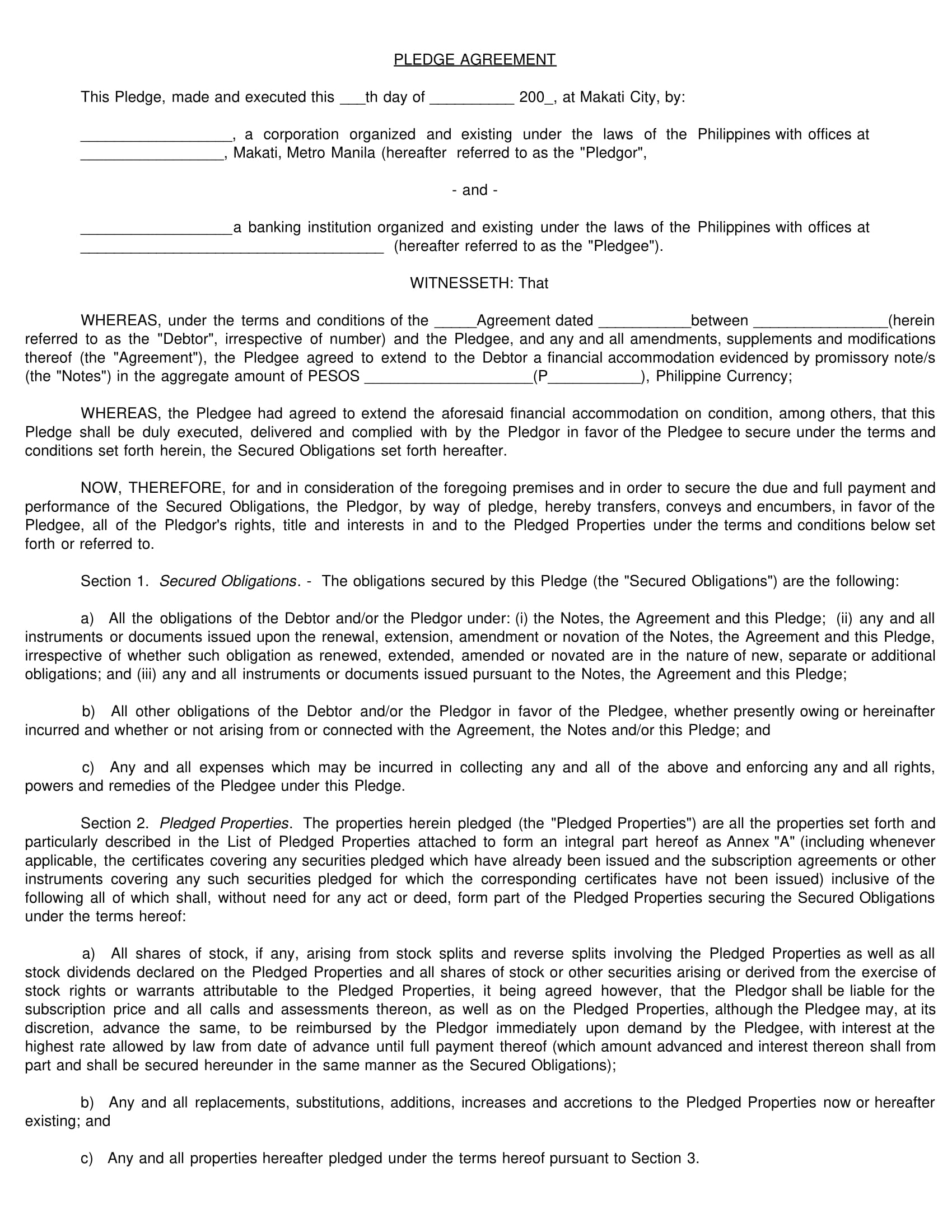 pledge agreement contract form sample 1