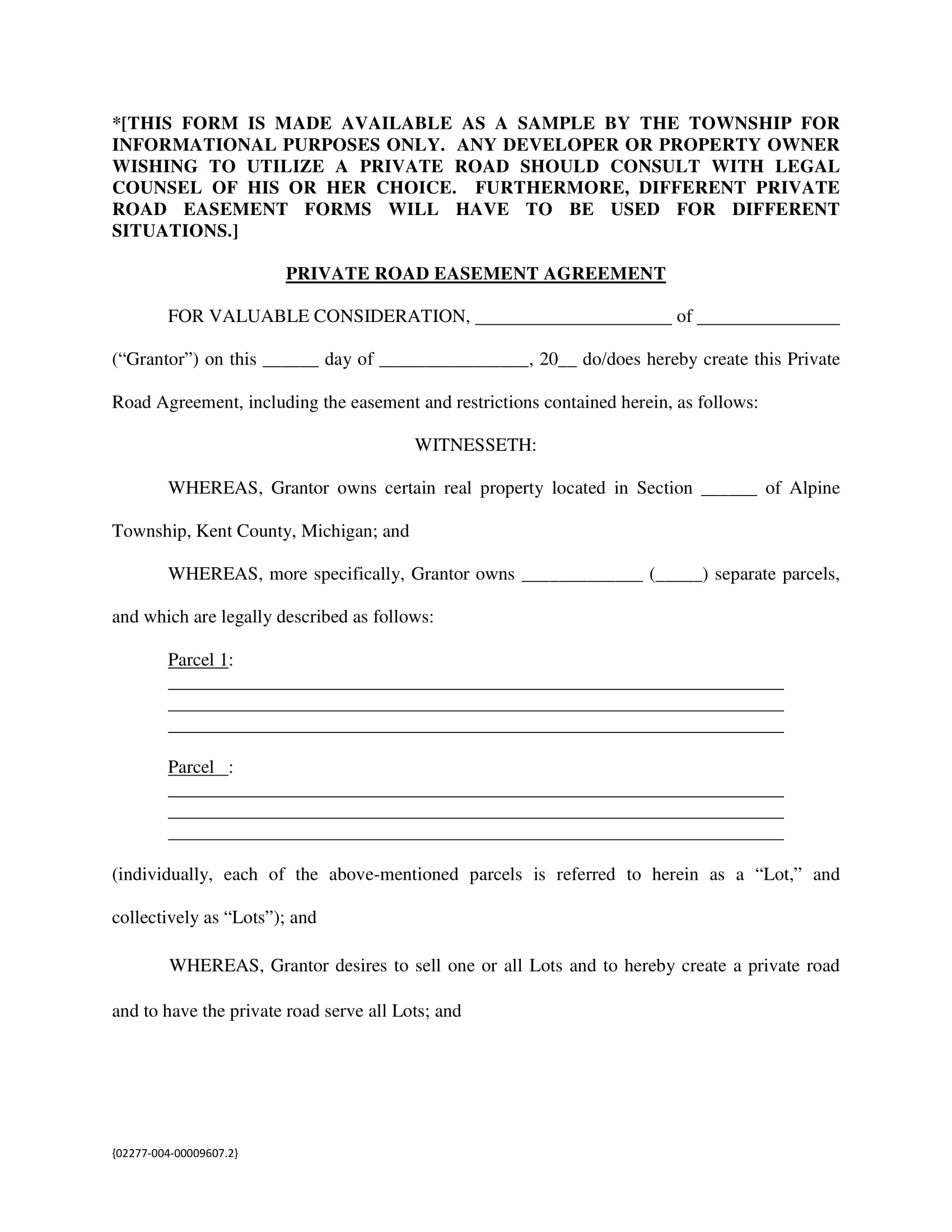 private road easement agreement contract form 1