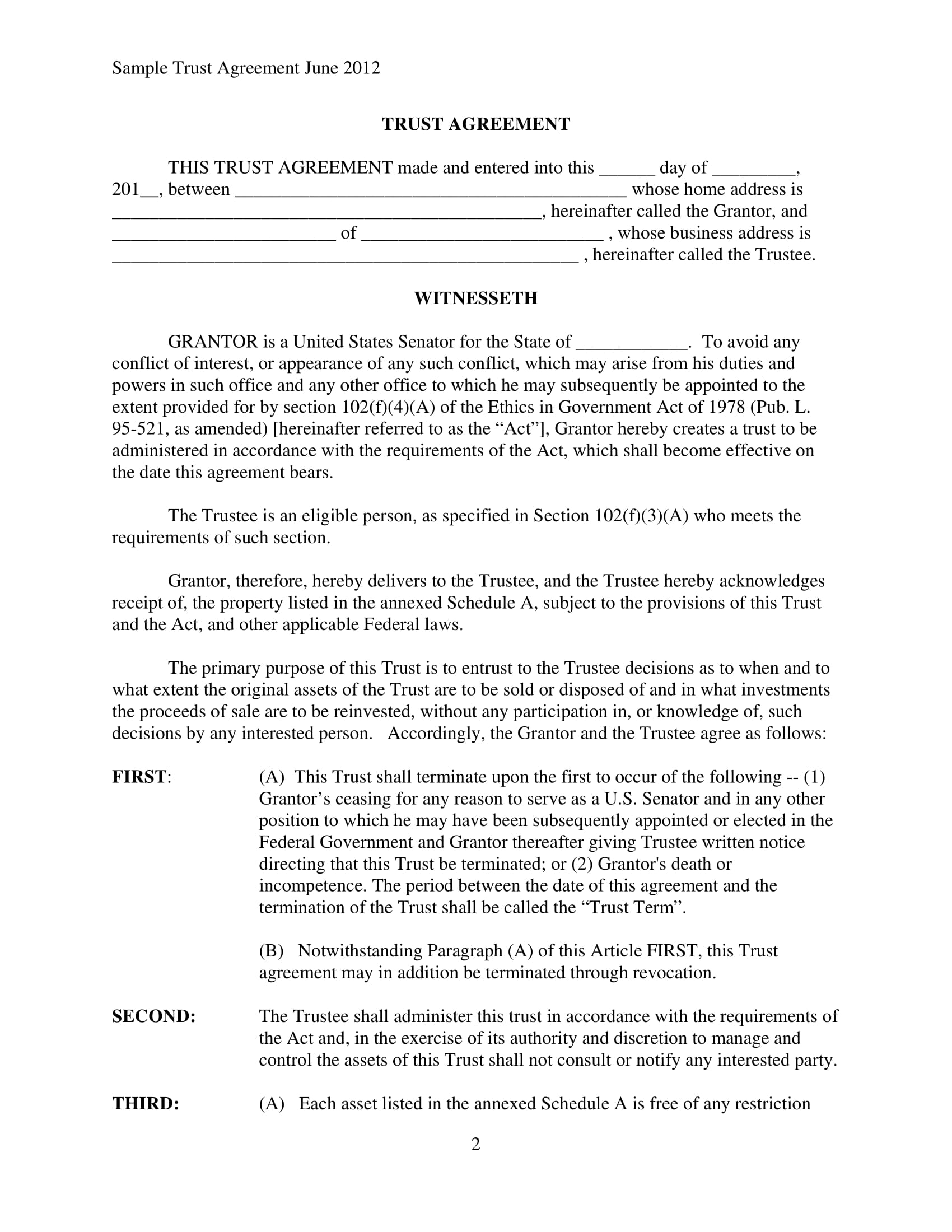 Free 5 Trust Agreement Contract Forms In Pdf