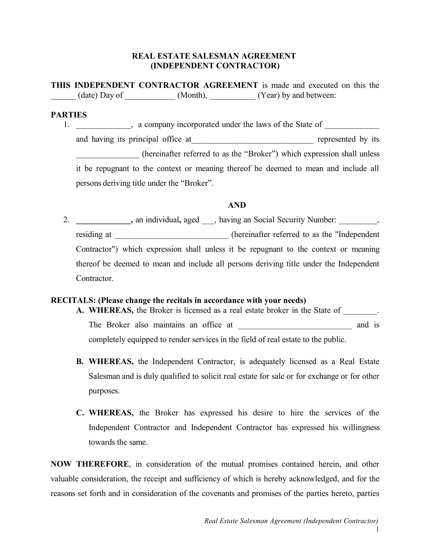 real estate salesman agreement contract form 05
