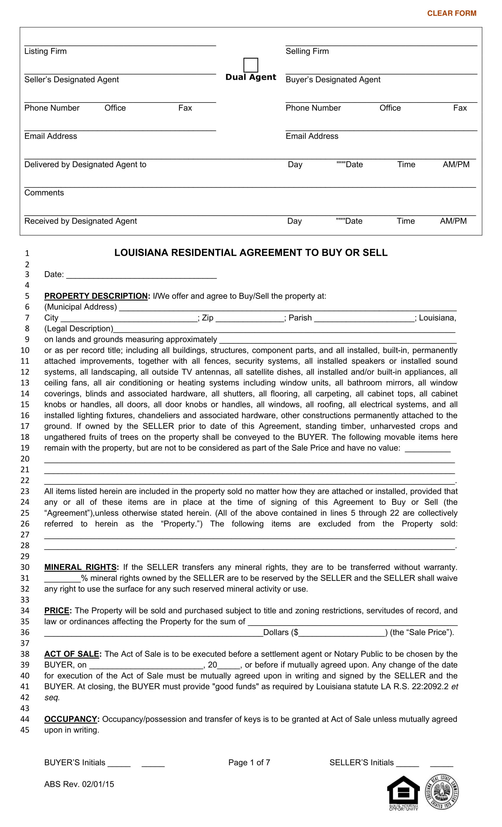 residential buy or sell agreement contract form 1