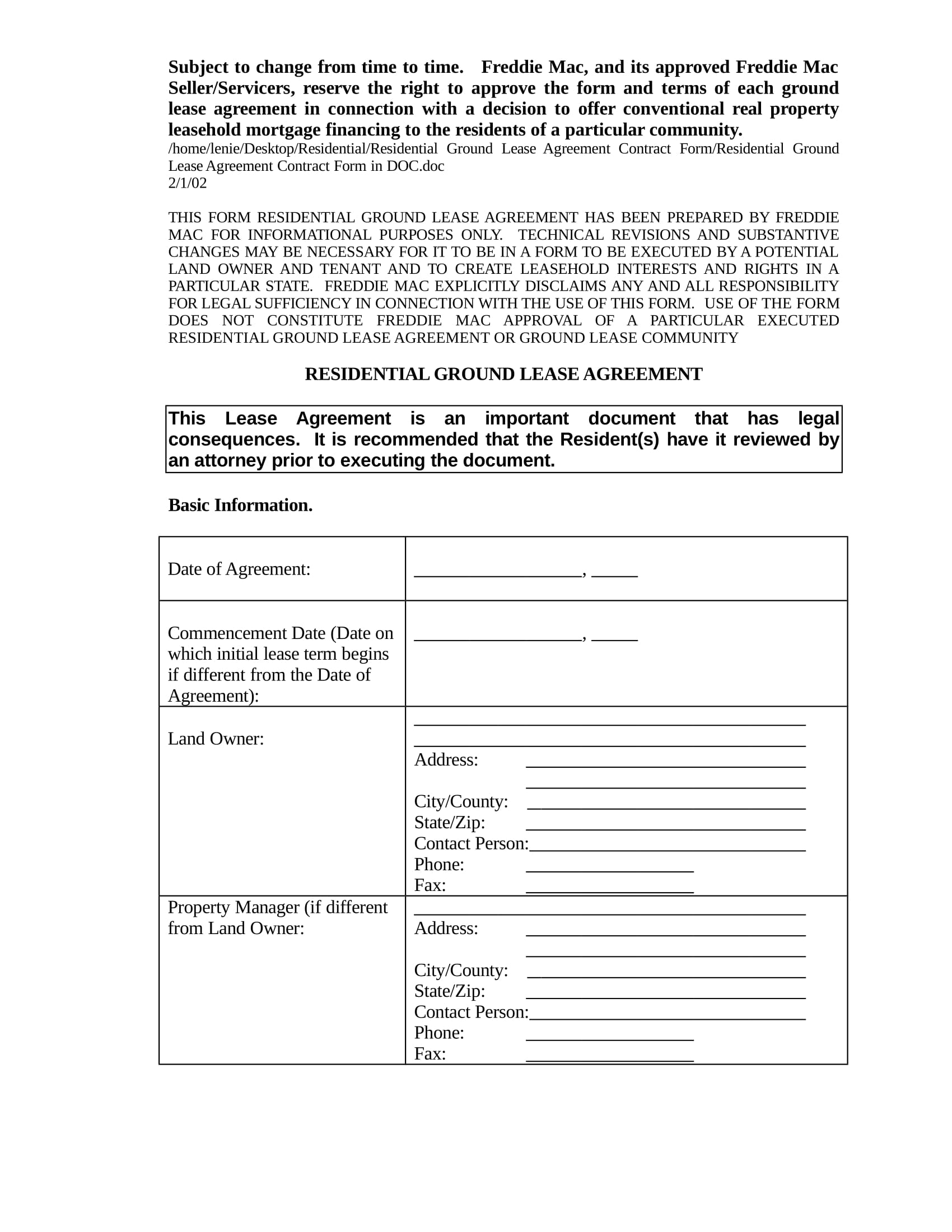 residential ground lease agreement contract form in doc 01