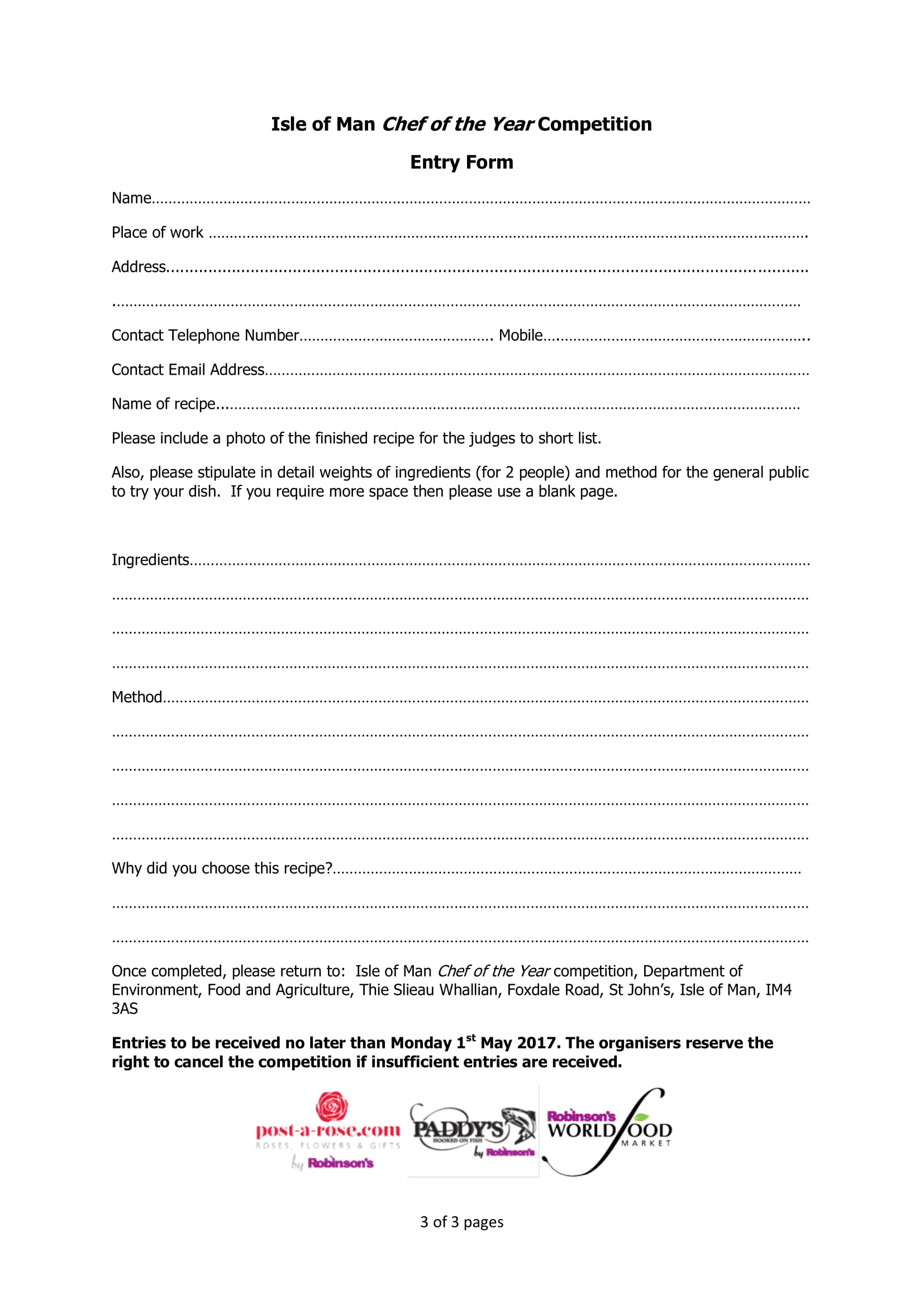 restaurant employee competition entry form 3
