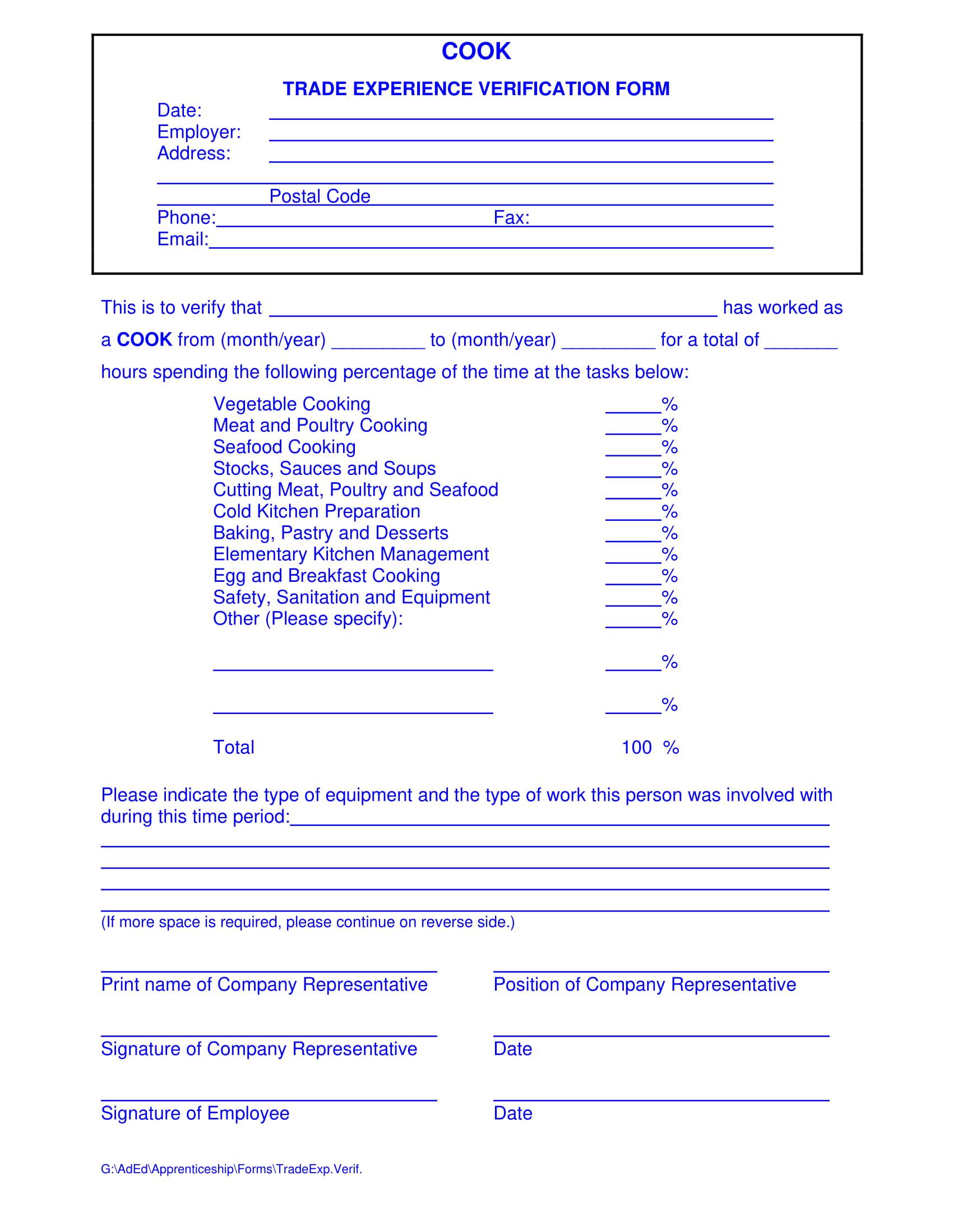 restaurant employee trade experience verification form 1