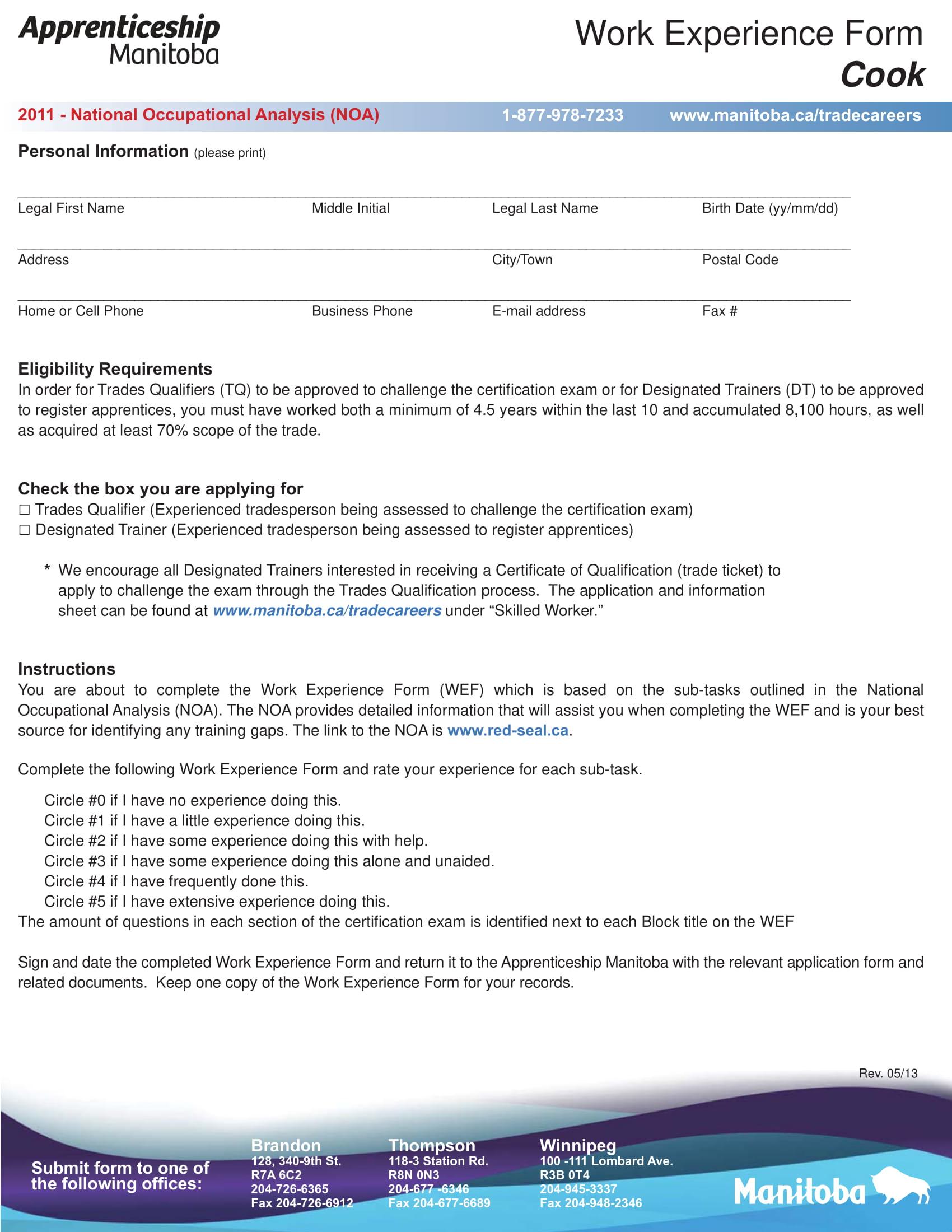 restaurant employee work experience form 01