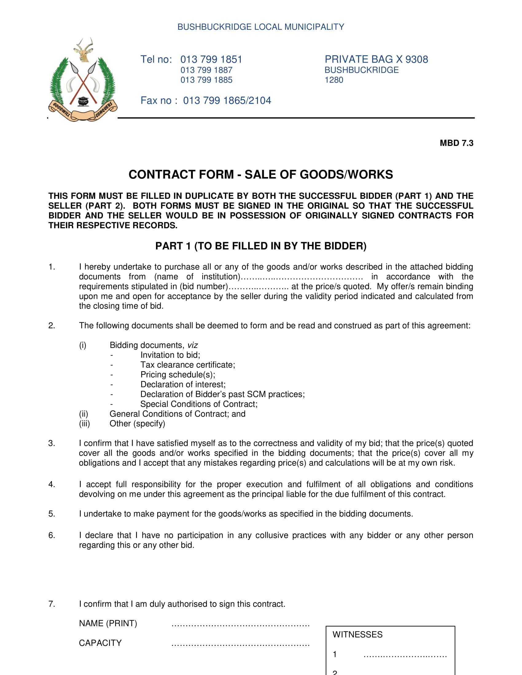 sale of goods contract form 1