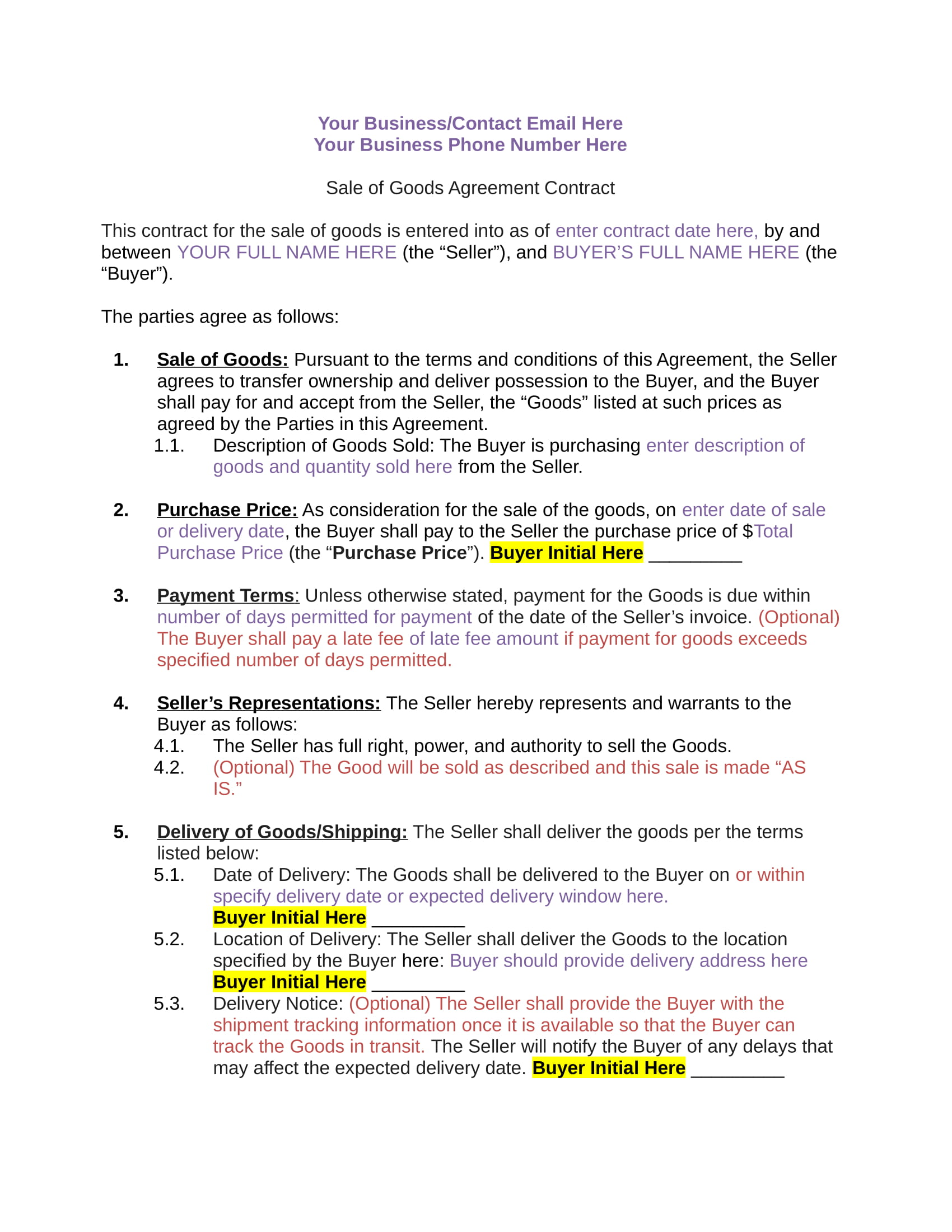 3 sales of goods agreement contract forms pdf doc for Sale of goods agreement template