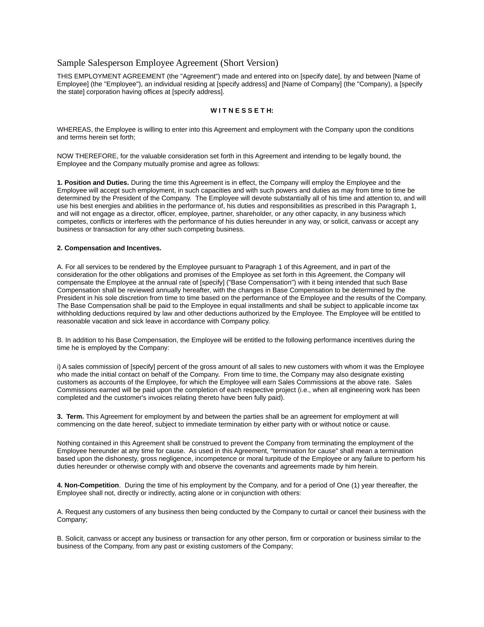 salesperson employee agreement contract form in doc 1