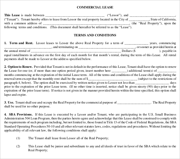 sample commercial lease contract form