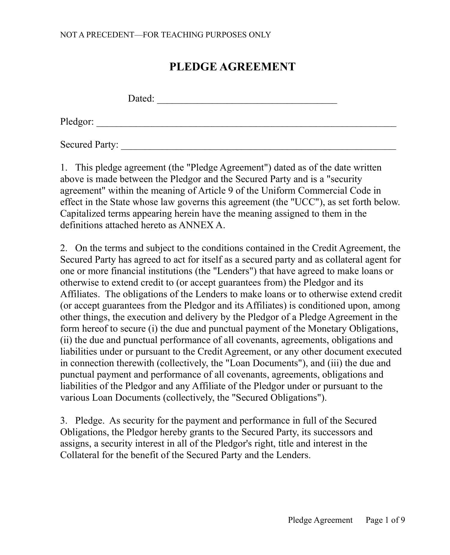 security pledge agreement contract form 1