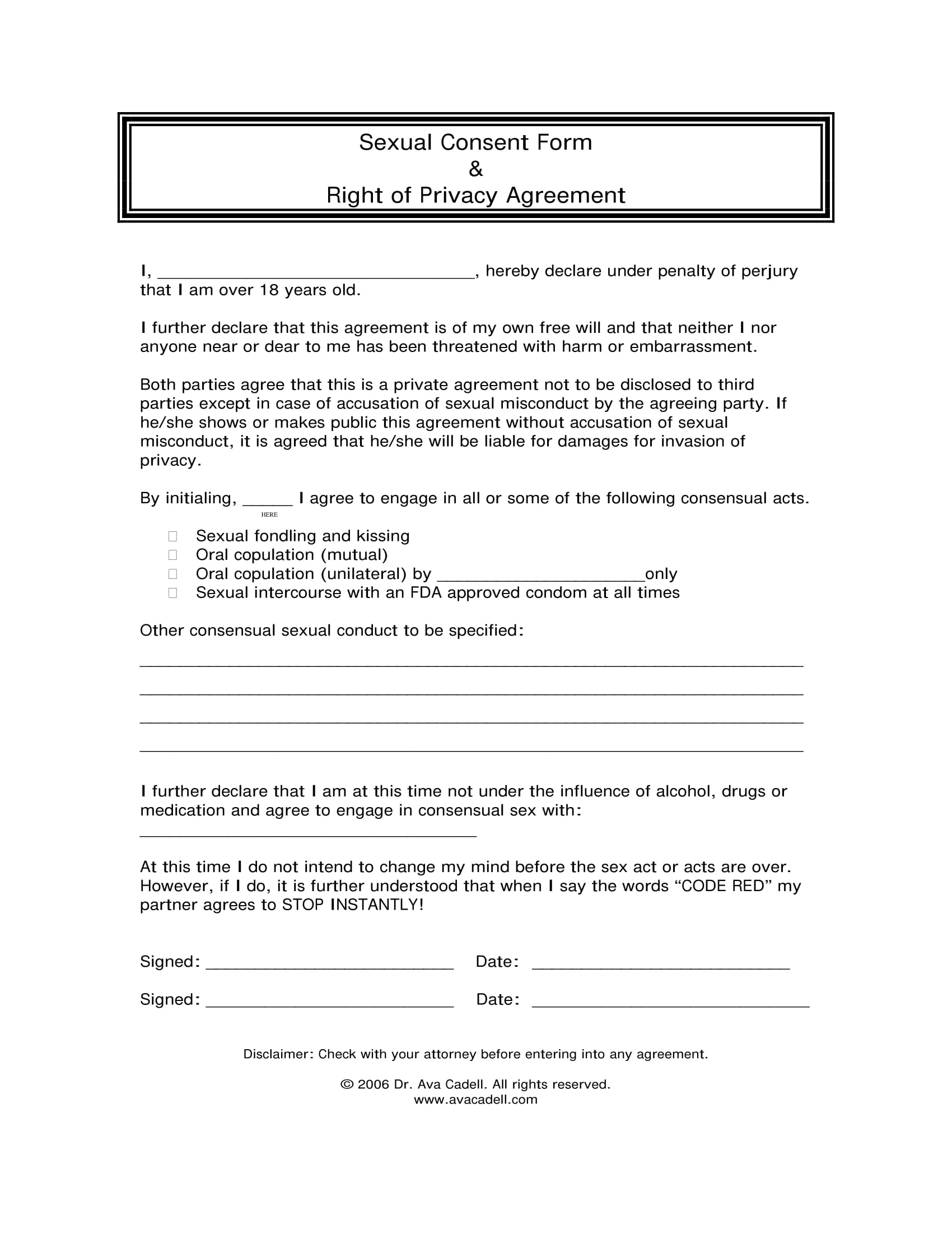 sexual consent privacy agreement contract form 1