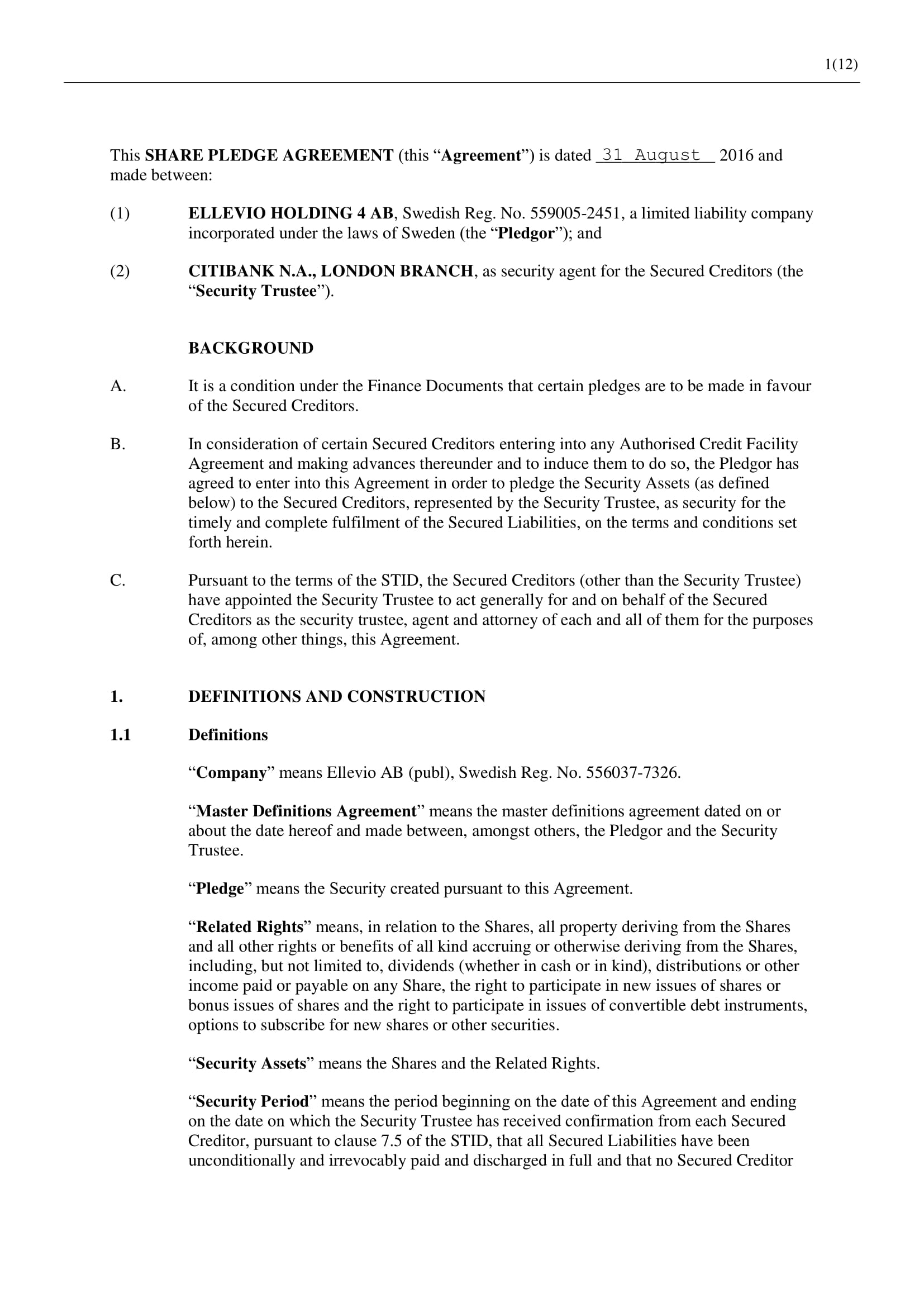 6 Pledge Agreement Contract Forms Pdf Doc