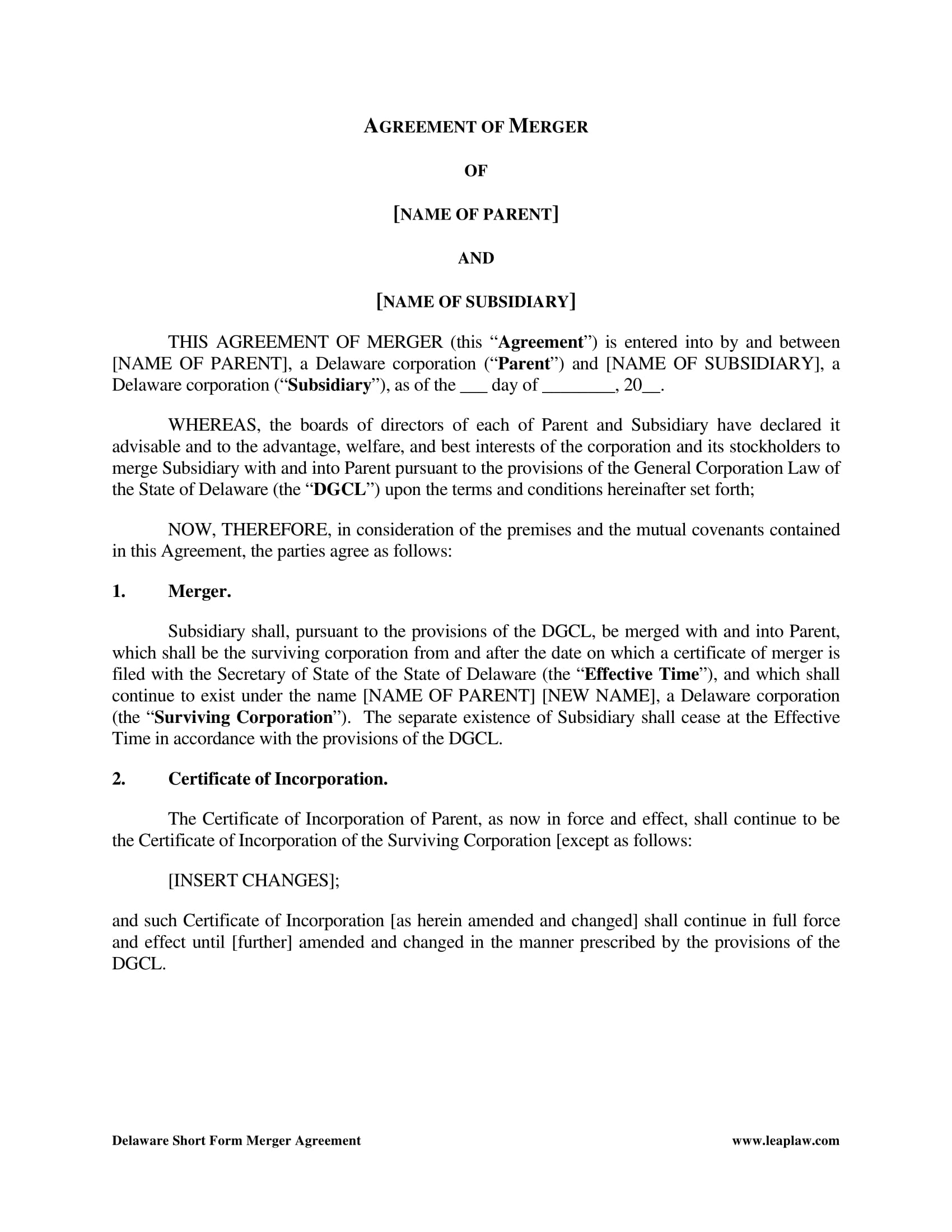 short merger agreement contract form 2