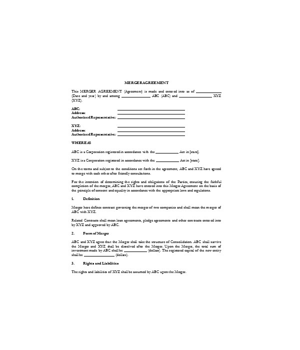 simple merger agreement contract form