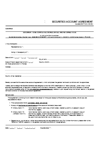 simple subscription contract forms