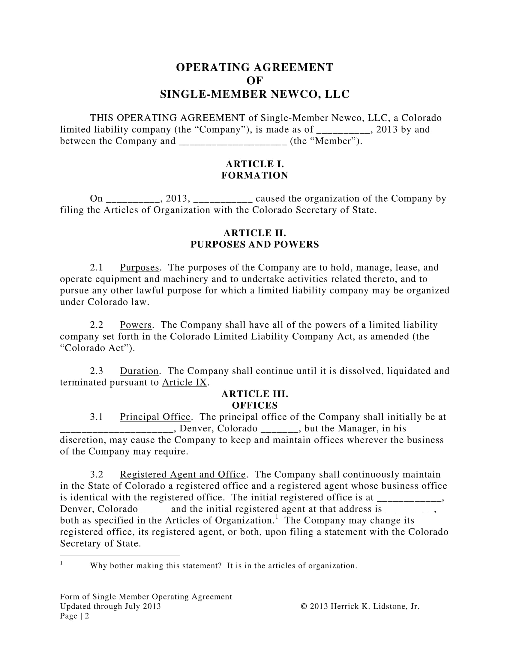 single member operating agreement contract form 02