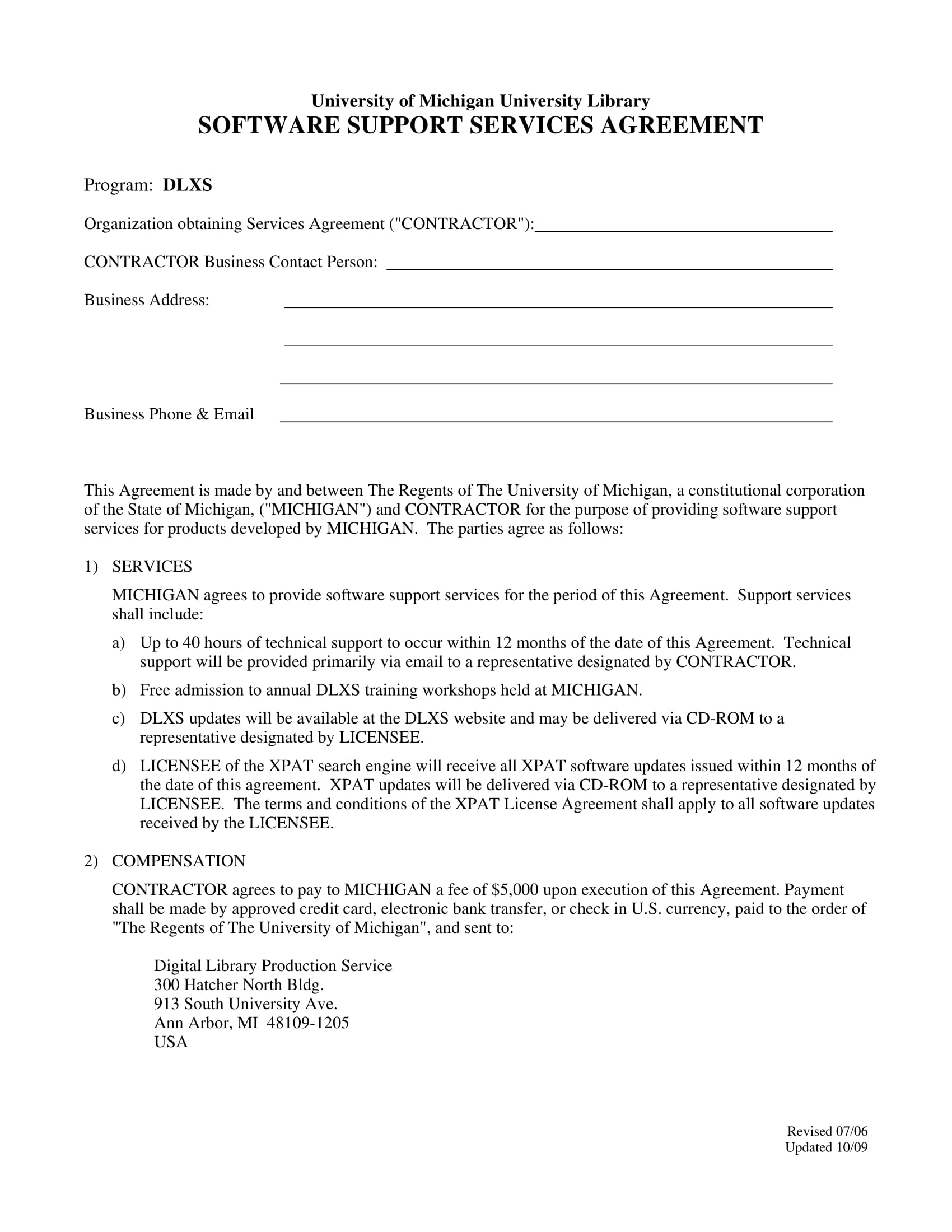 software support services agreement contract form 1