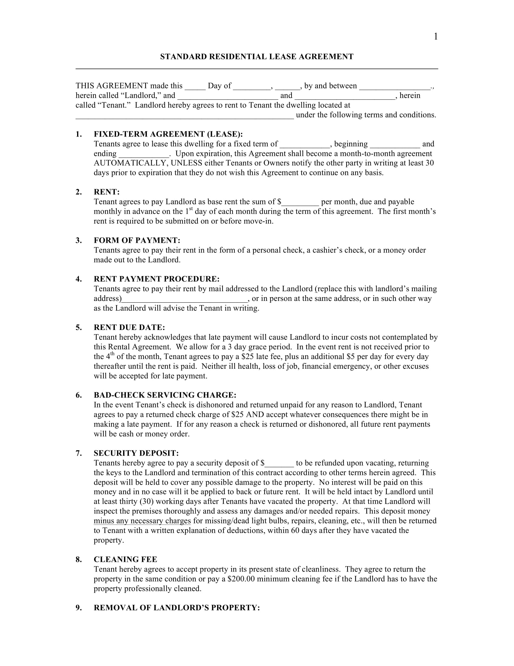 standard residential lease agreement contract form 1