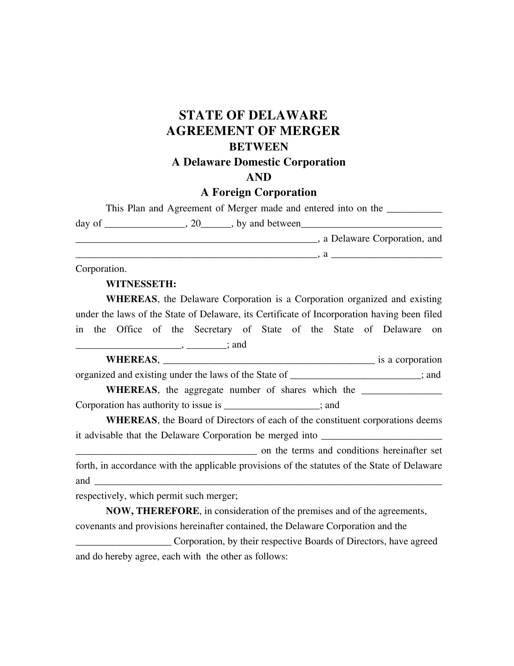 state merger agreement contract form 2