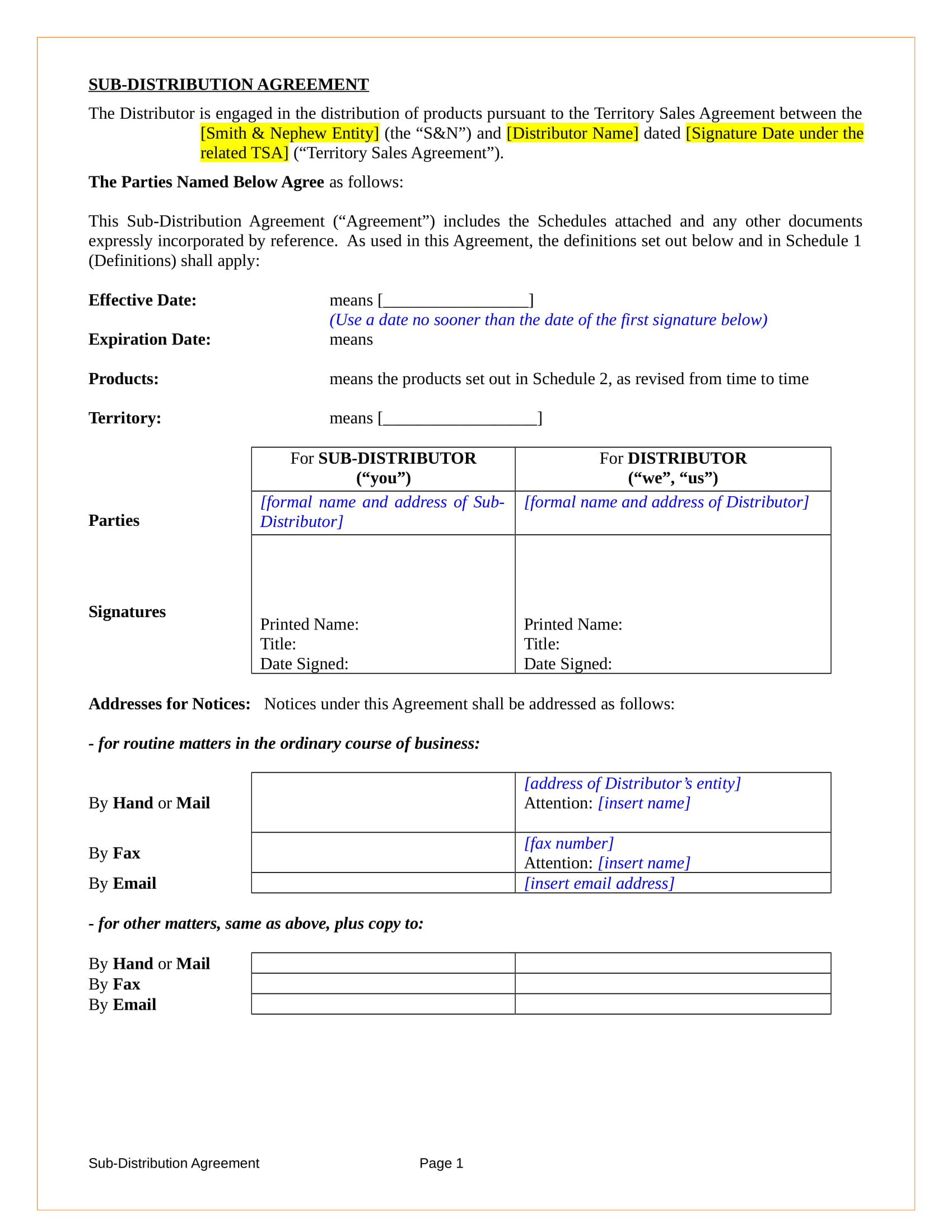 sub distribution agreement contract form in doc 01