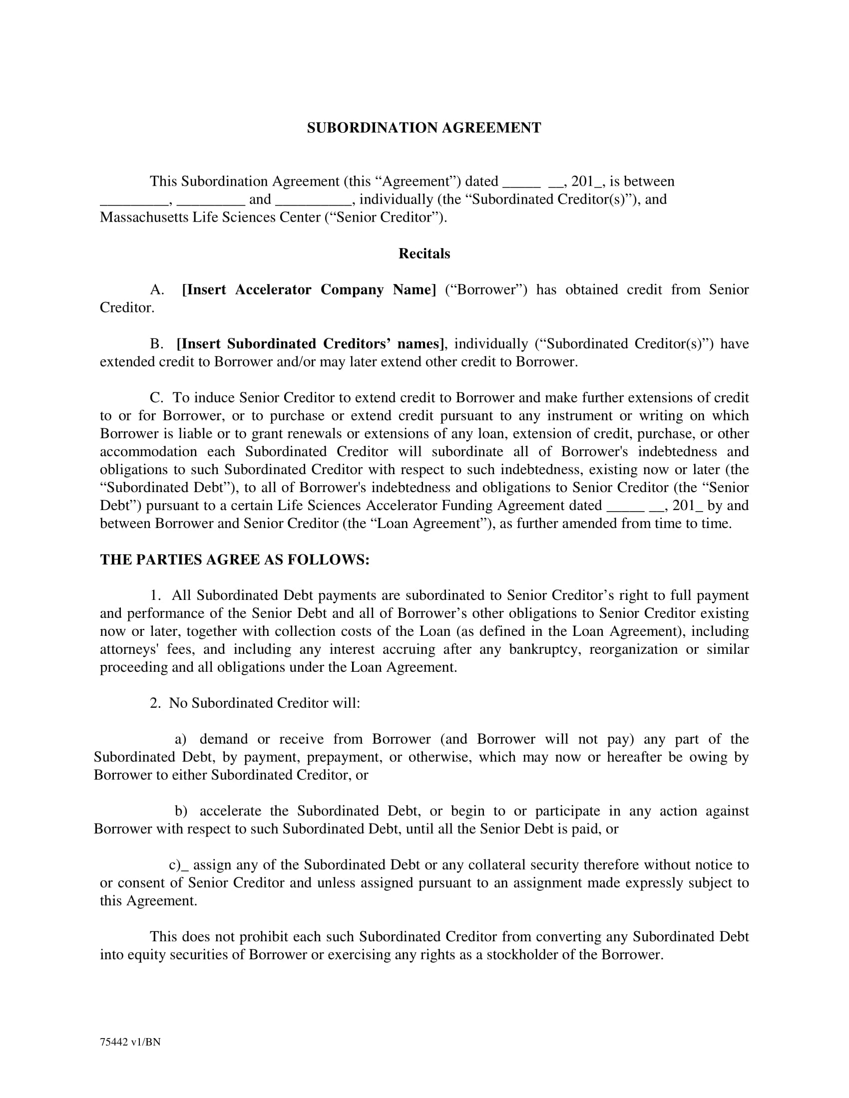 5 Subordination Agreement Contract Forms PDF DOC