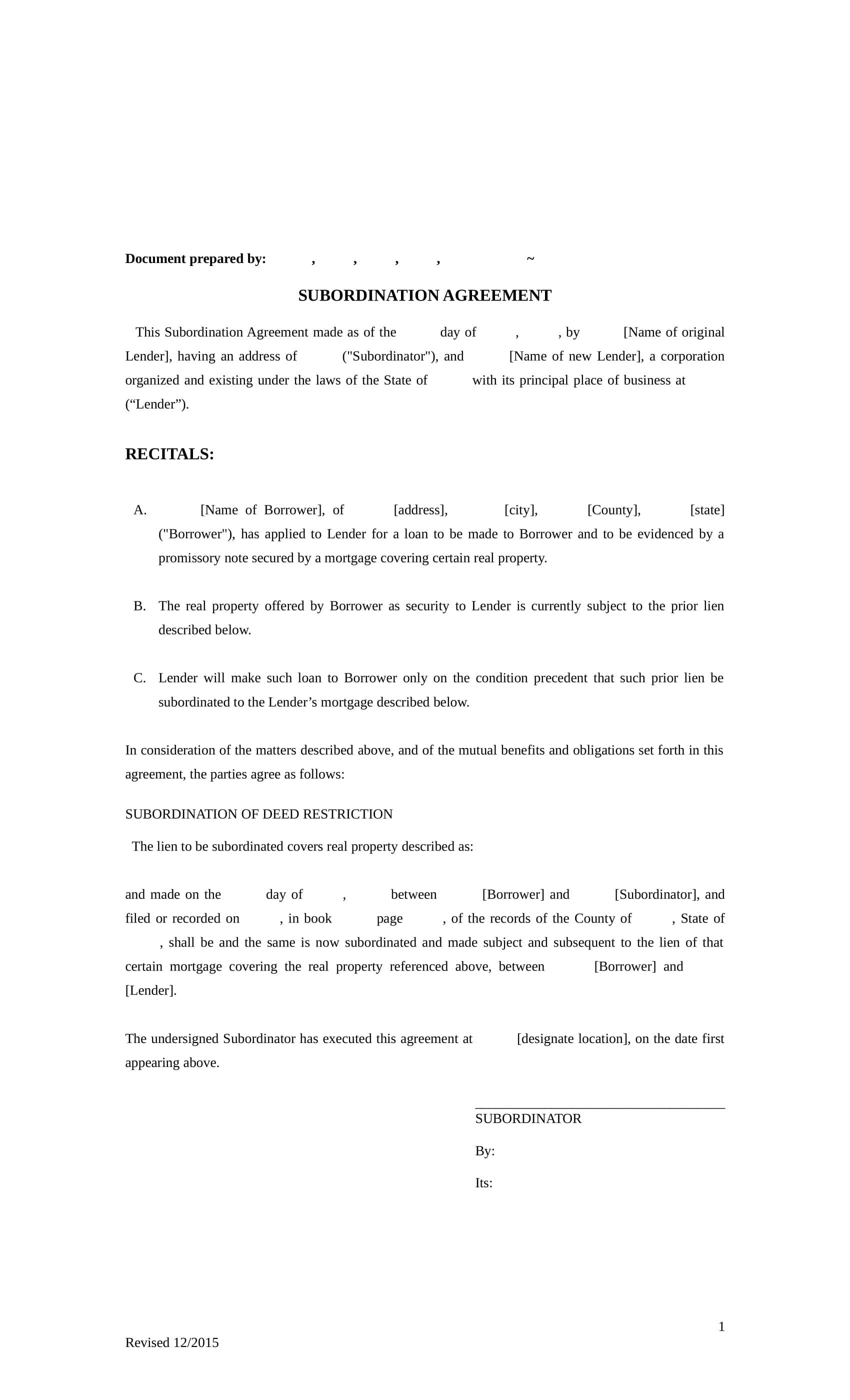 subordination agreement contract form in doc 1