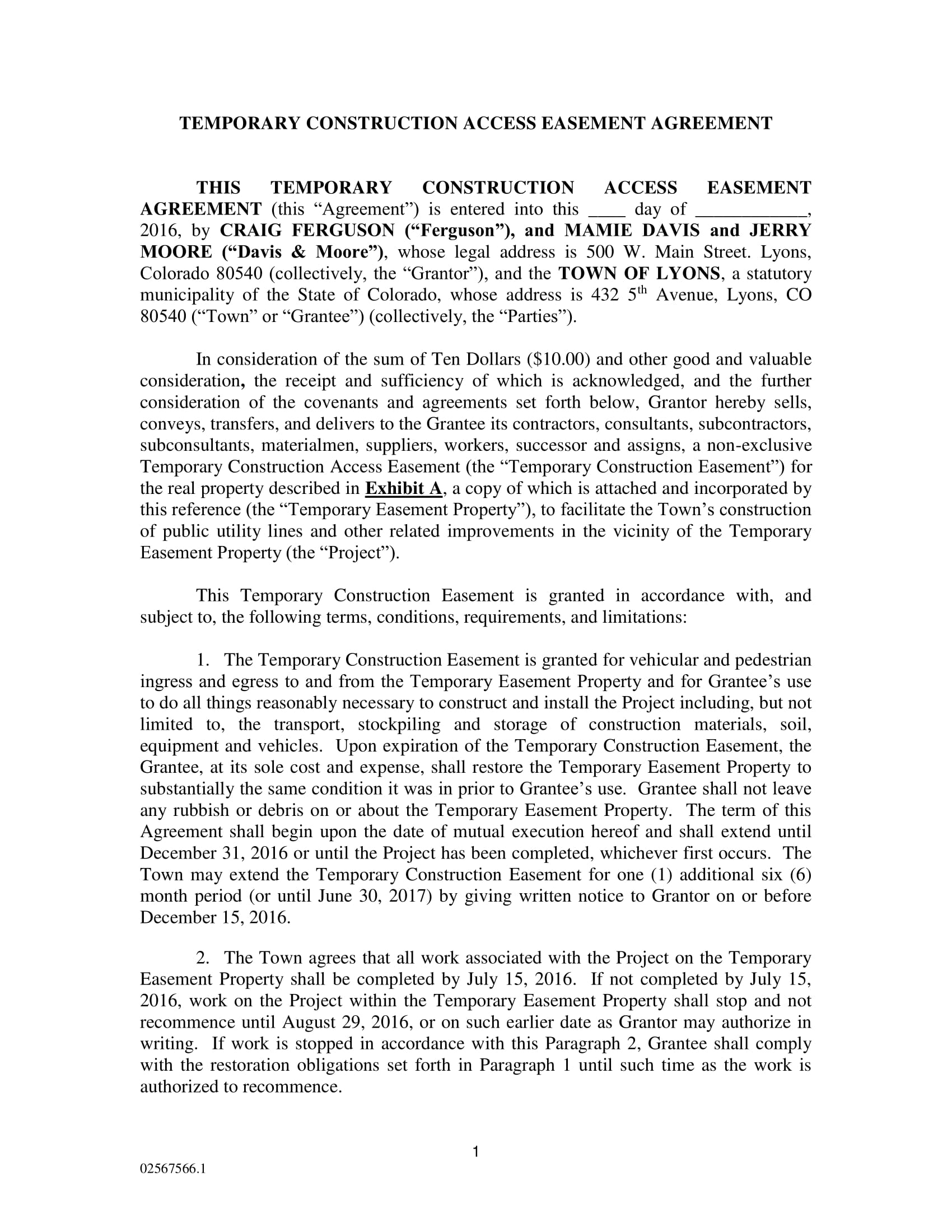temporary construction easement agreement contract form 1