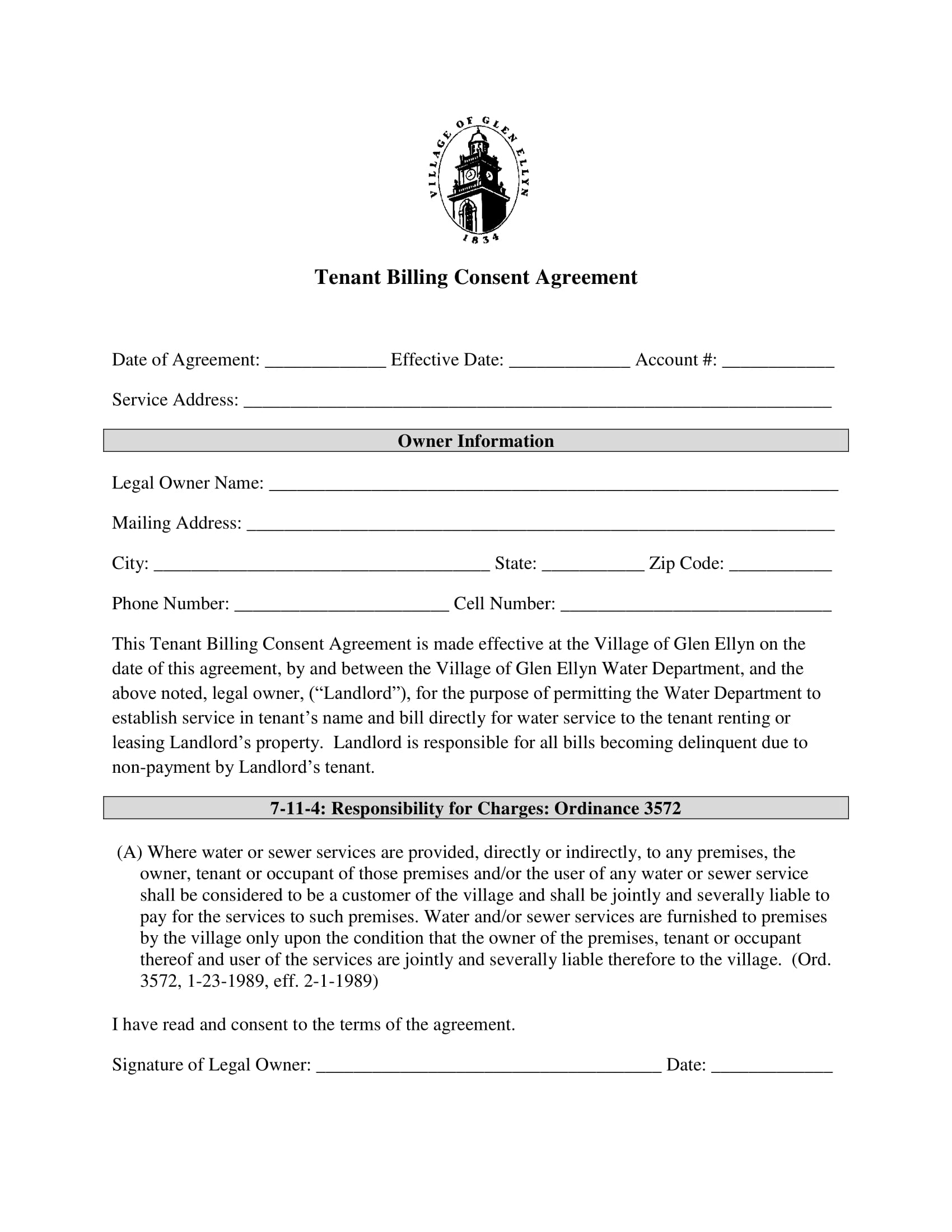 tenant billing consent agreement contract form 1