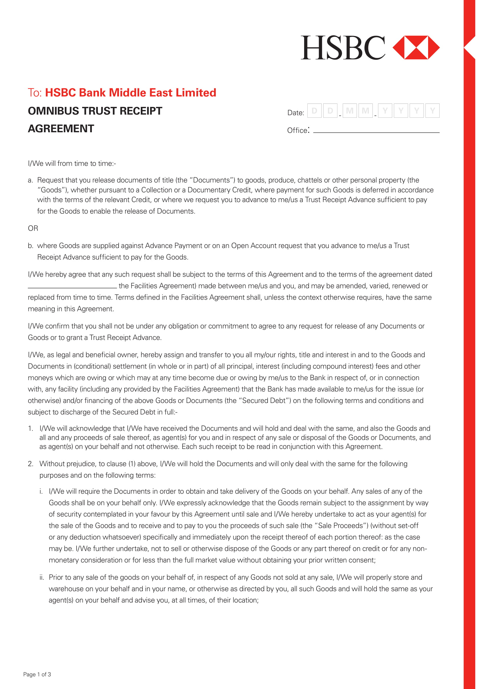 trust receipt agreement contract form 1