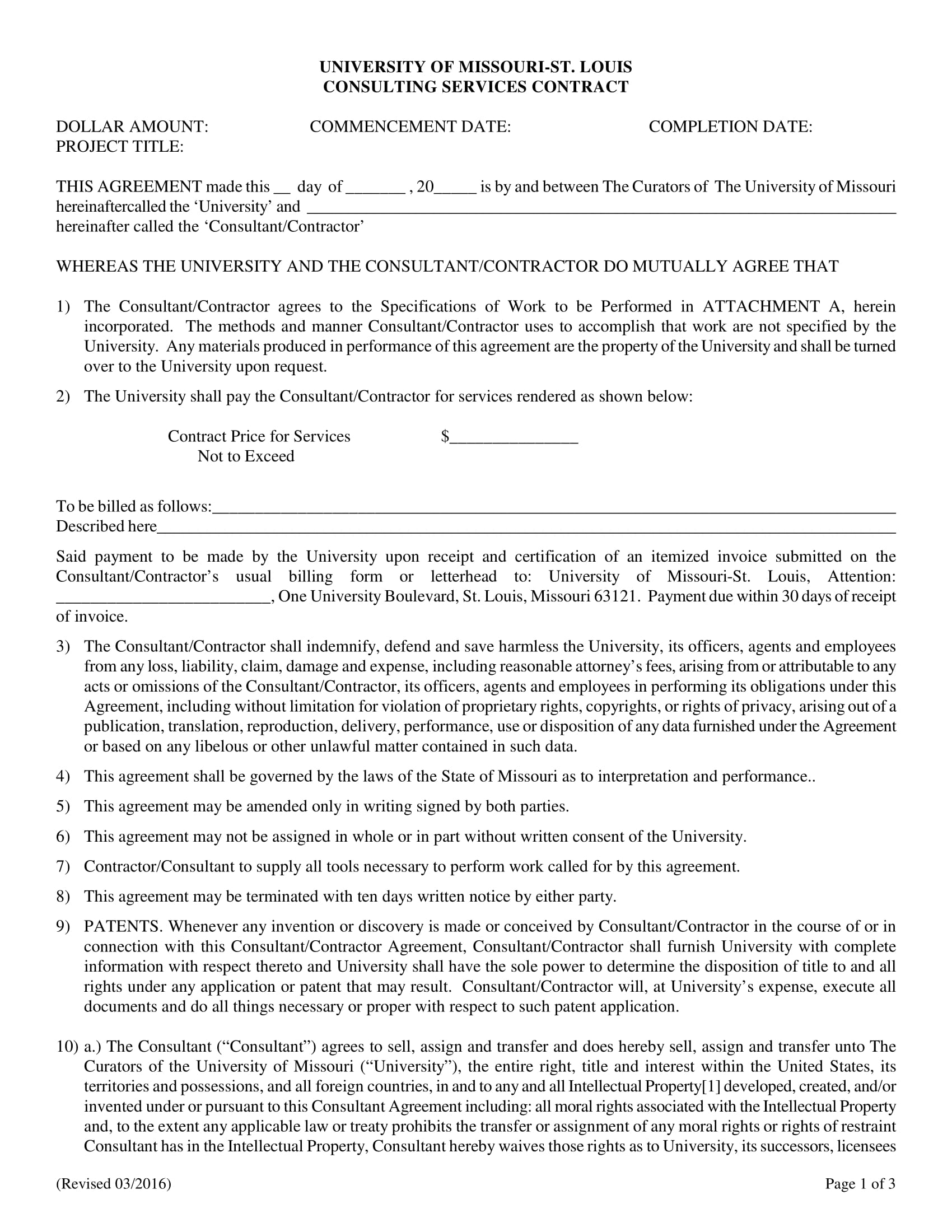 university consulting services contract form 1