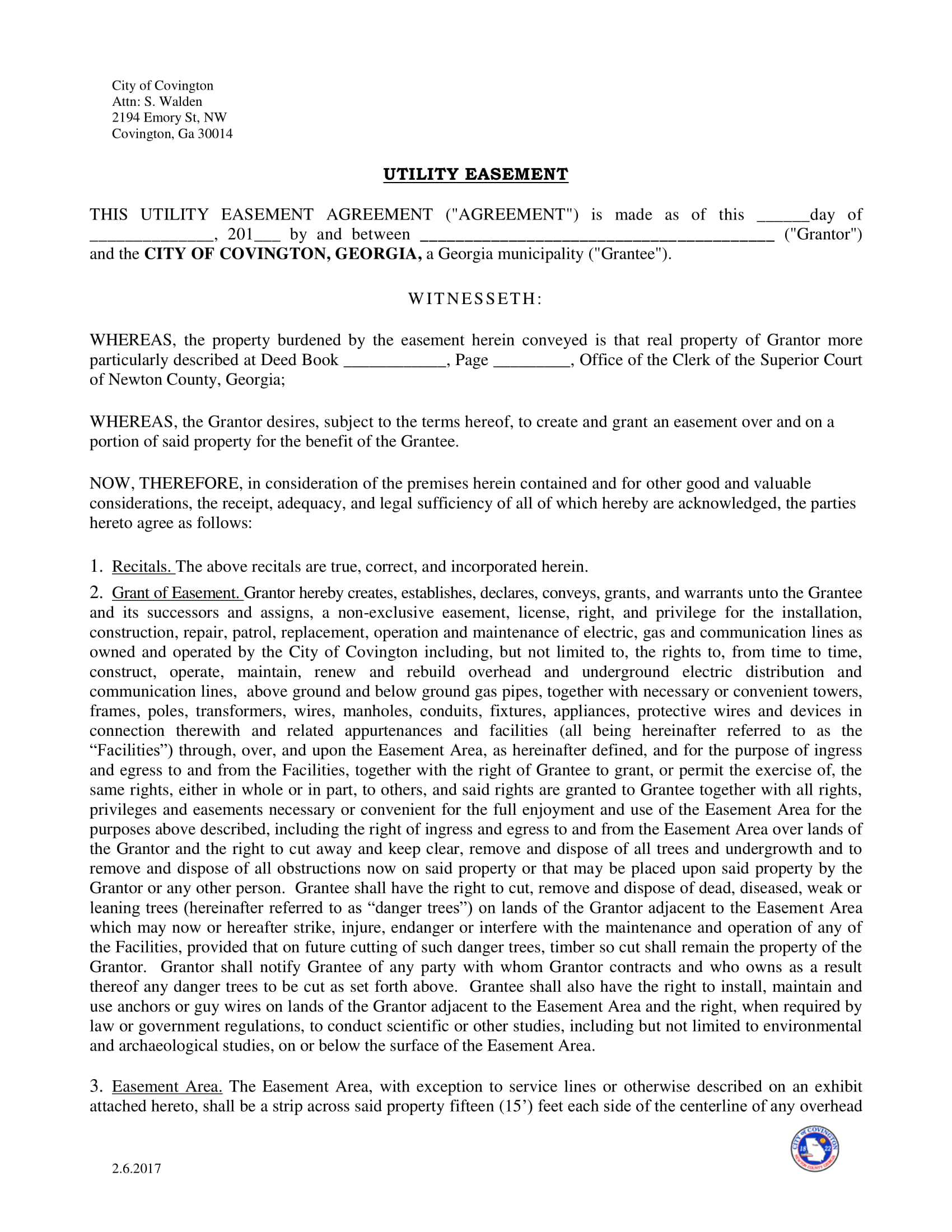 utility easement agreement contract form 1