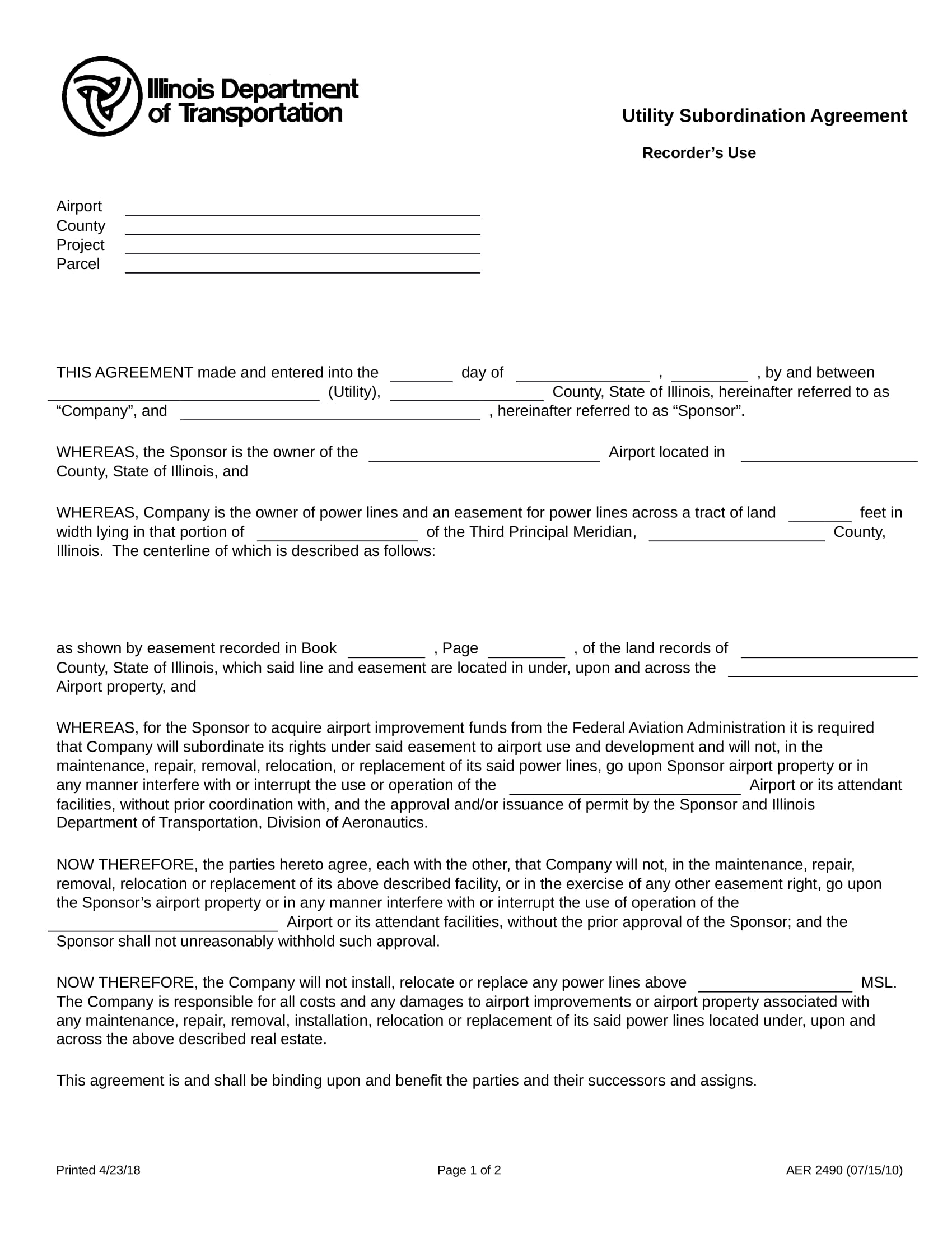 utility subordination agreement contract form in doc 1