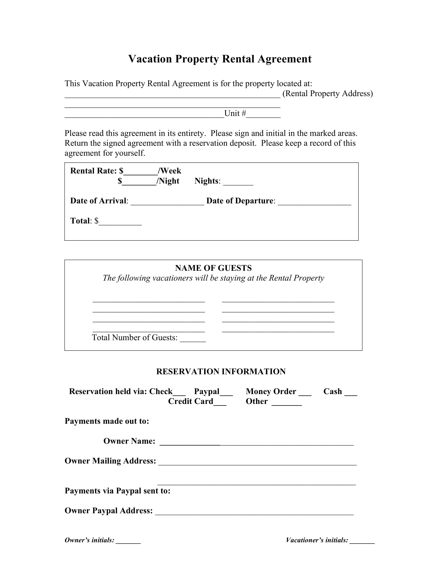 vacation property rental agreement contract form 2