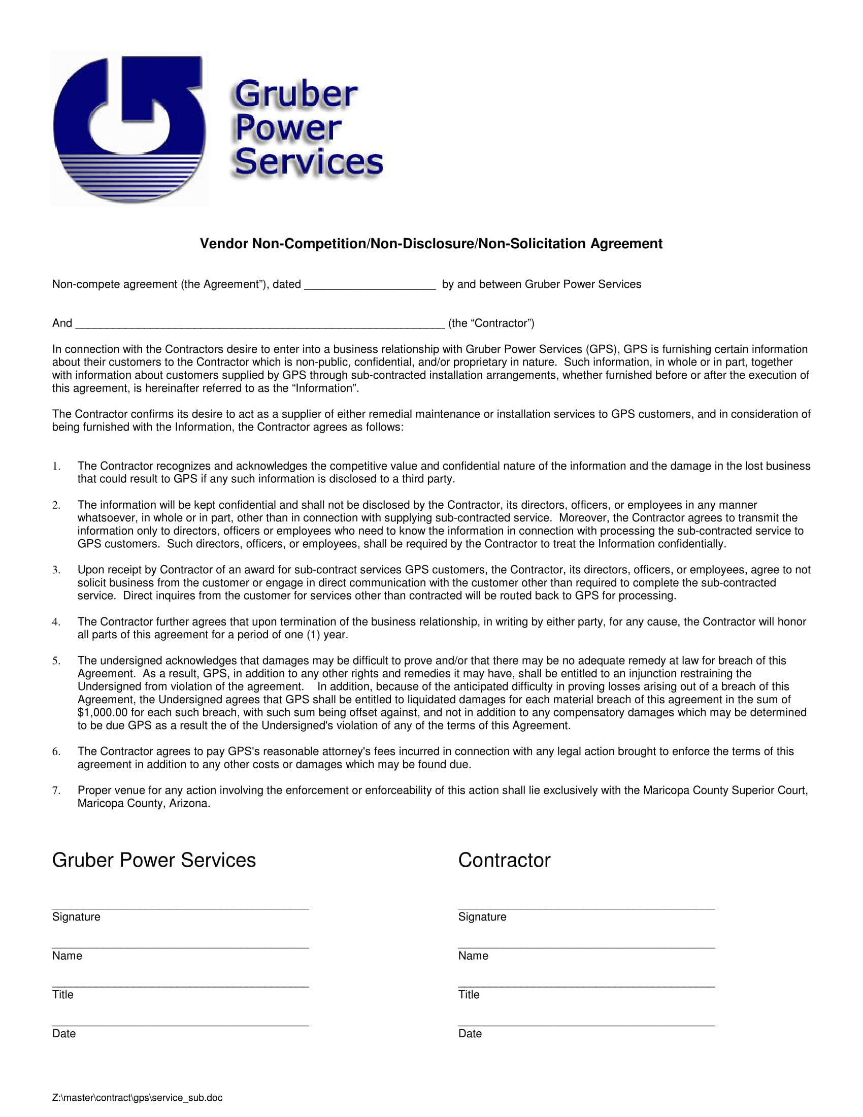 vendor non competition agreement contract form 1
