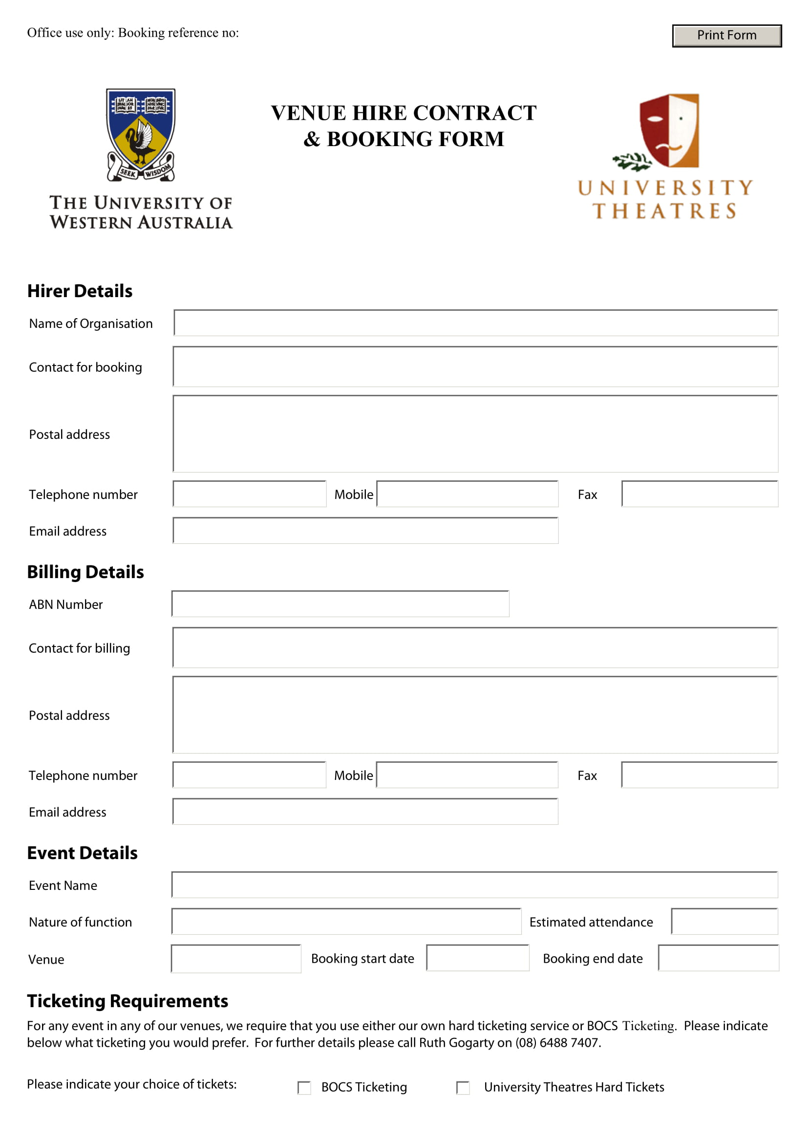 venue hire contract booking form 1