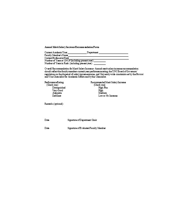 annual merit increase recommendation form