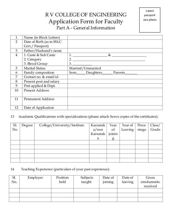 application form for faculty