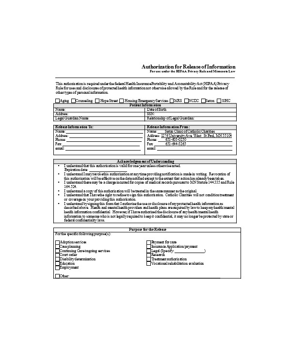 authorization release information form1