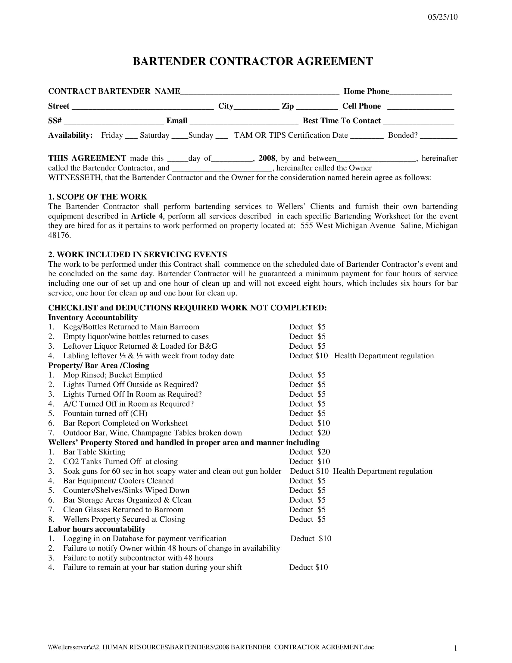 bartender contractor agreement form 1