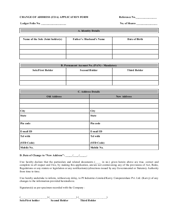change of address application form