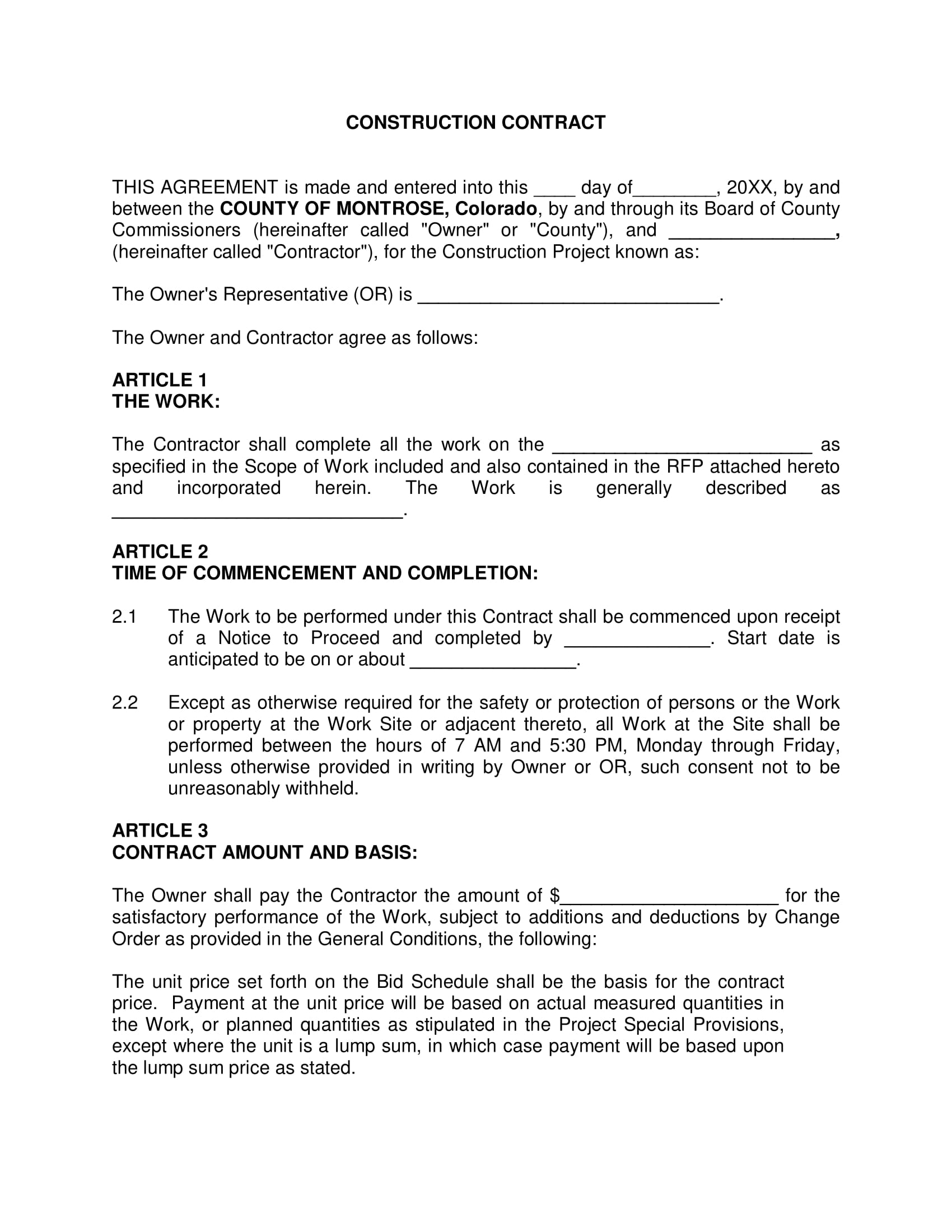 construction contract form sample 01