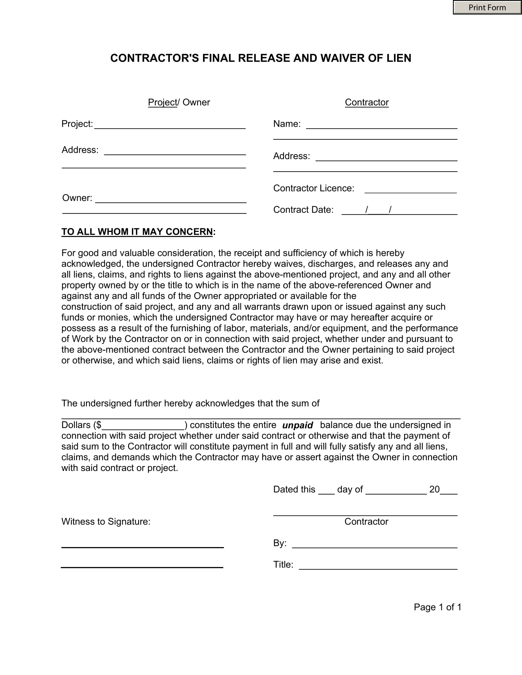 Free 13 Construction Forms In Pdf Ms Word