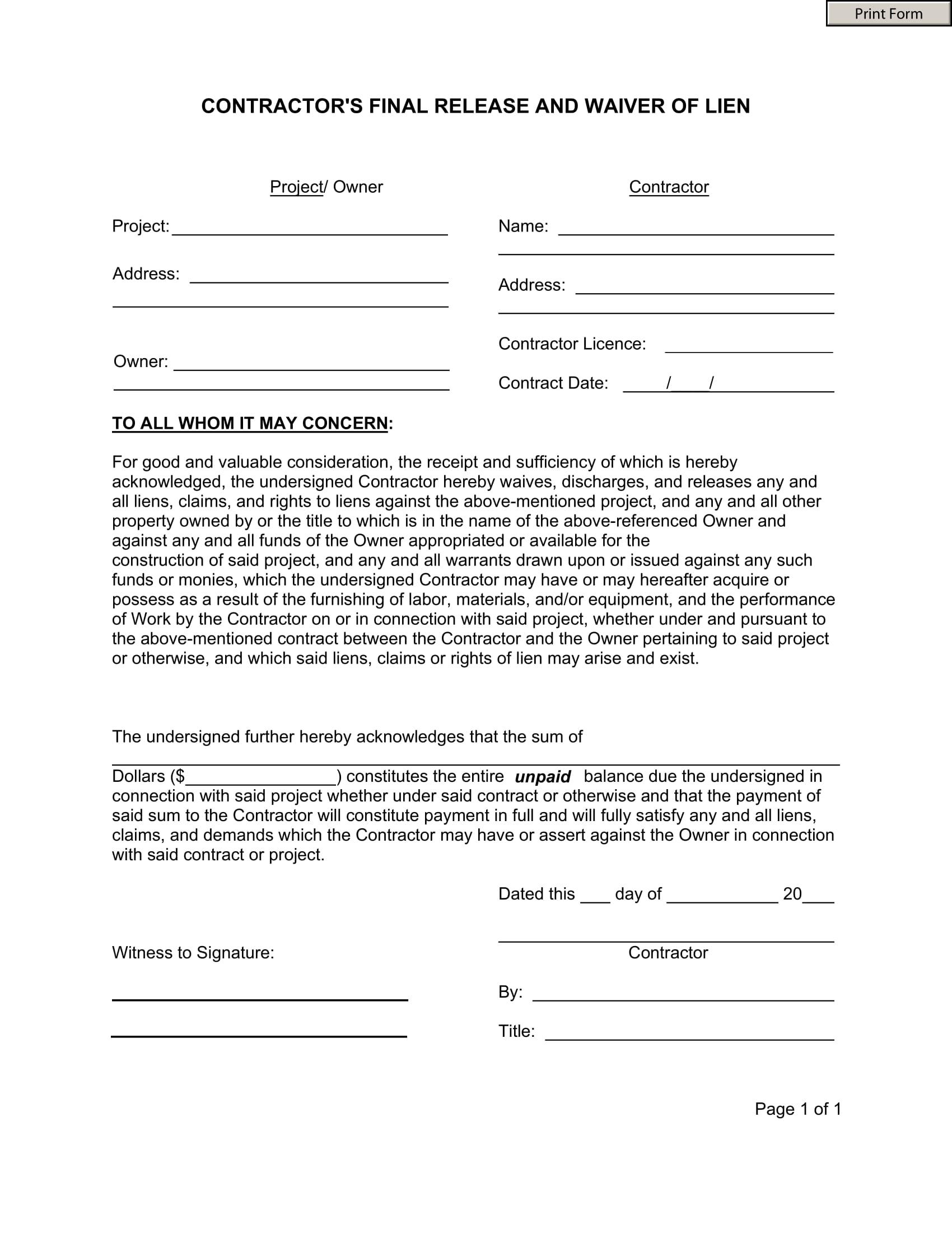 construction contractor lien waiver release form 1