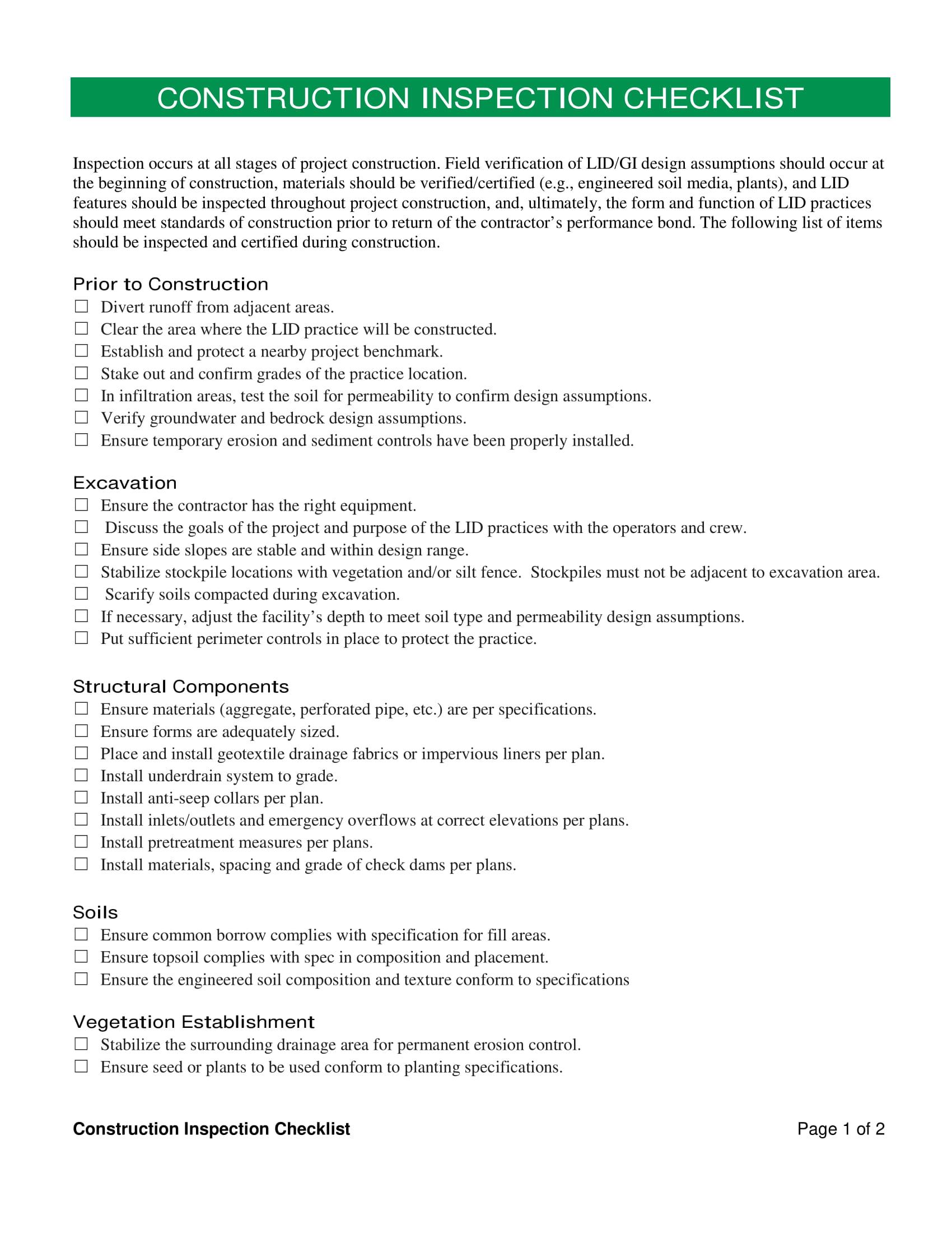 construction inspection checklist form 1