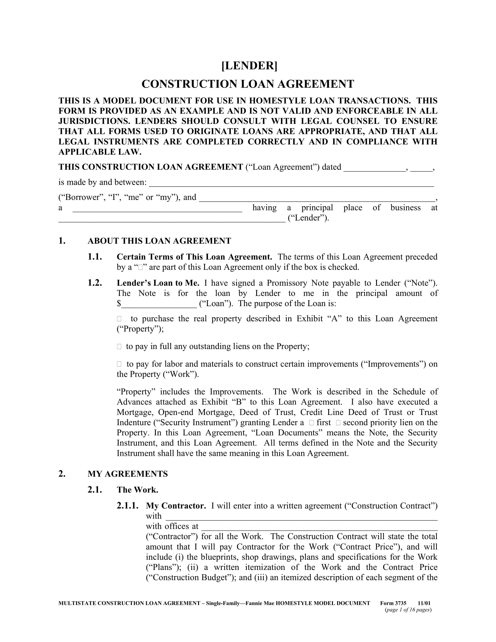 construction loan agreement form 01