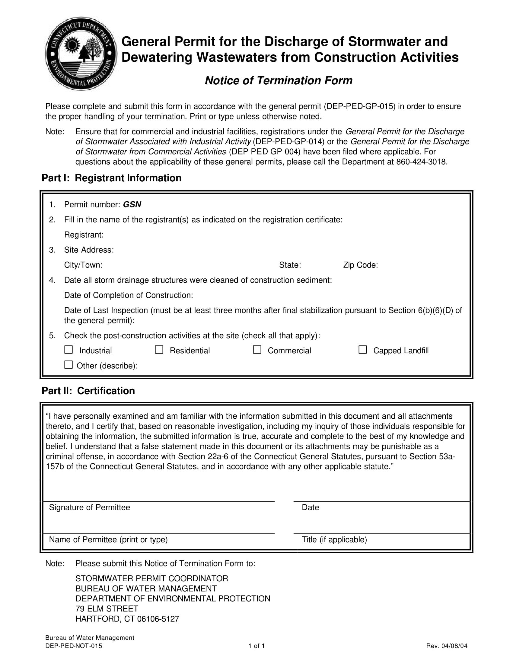 construction notice of termination form 1