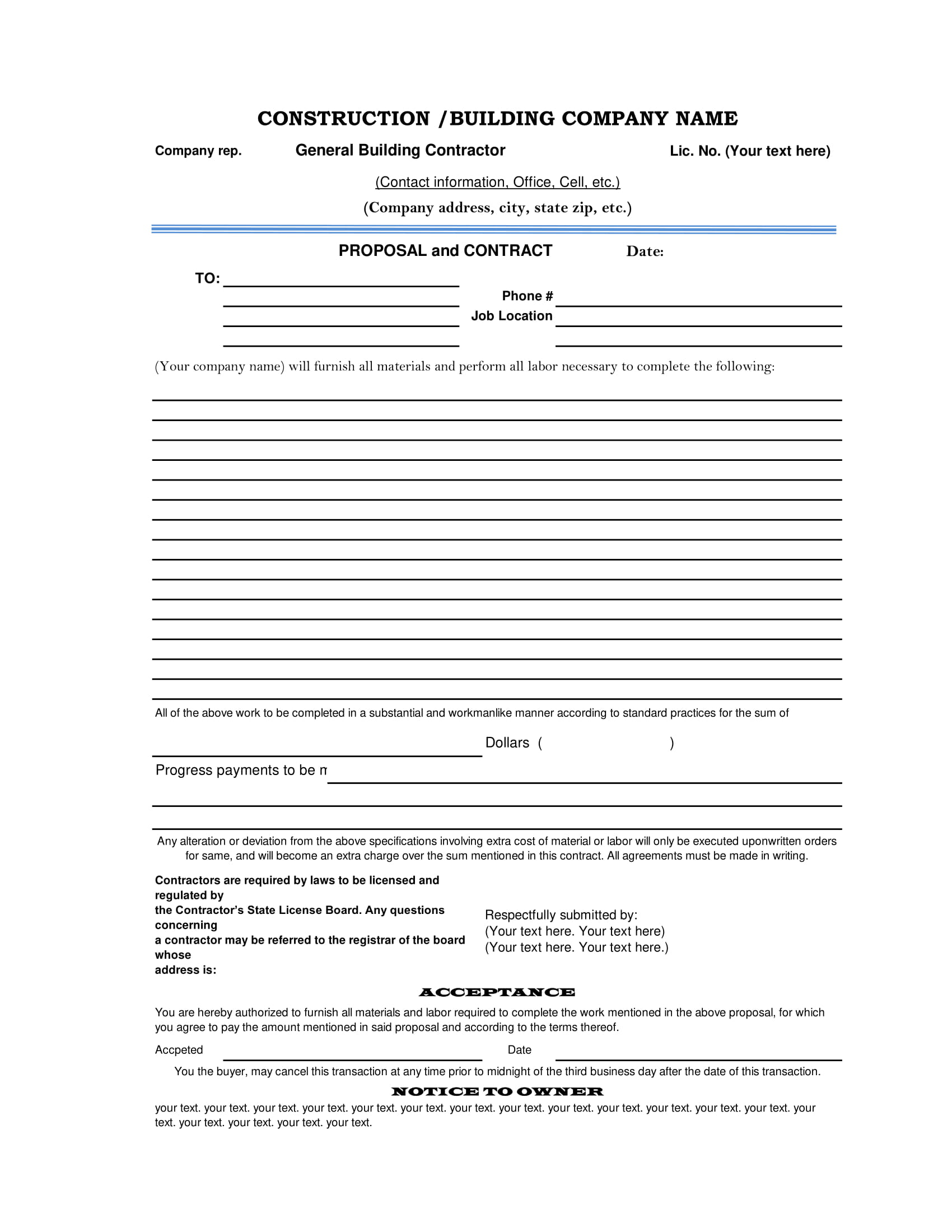 construction proposal form sample 2