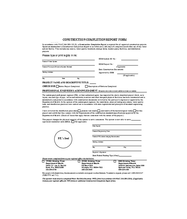 construction report form