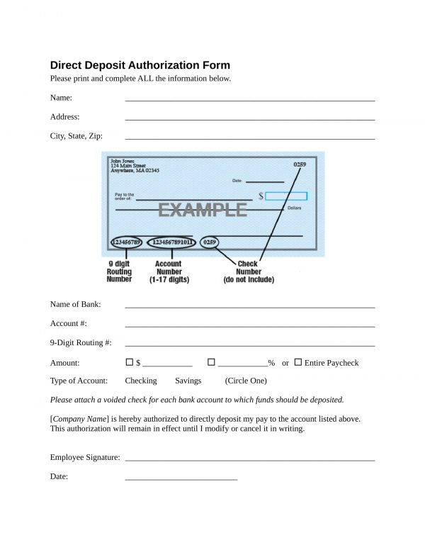 direct deposit authorization form in doc 1 e1525928665813